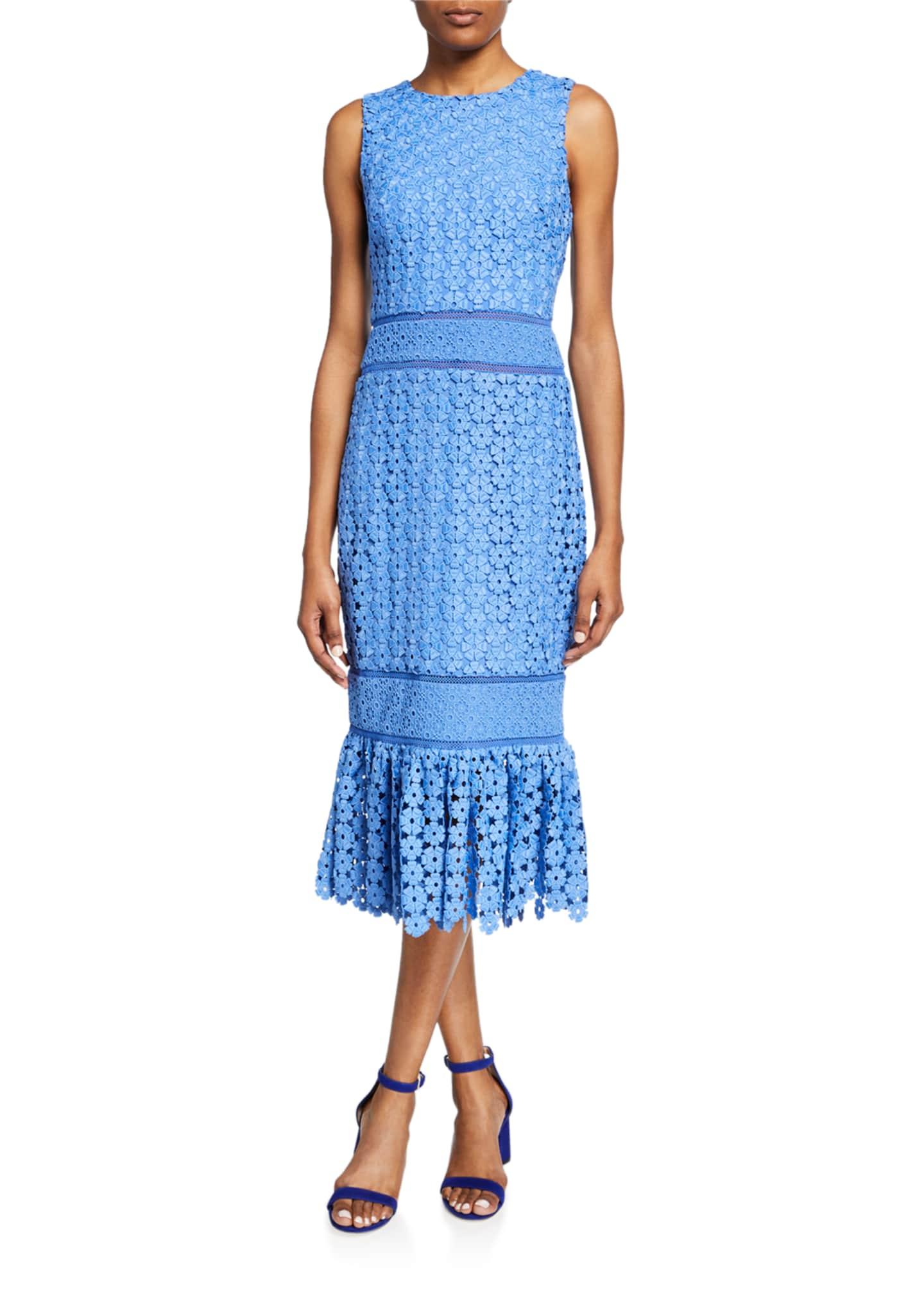 Badgley Mischka Collection Sleeveless Combo Lace Sheath Dress