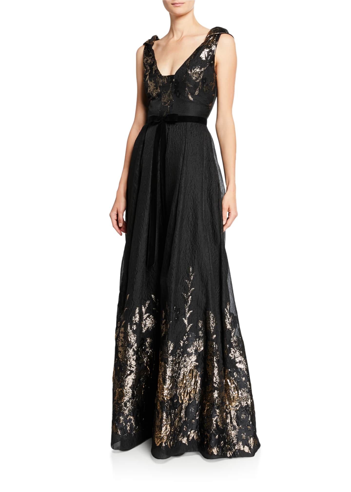 Marchesa Notte V-Neck Sleeveless Metallic Fils Coupe Gown