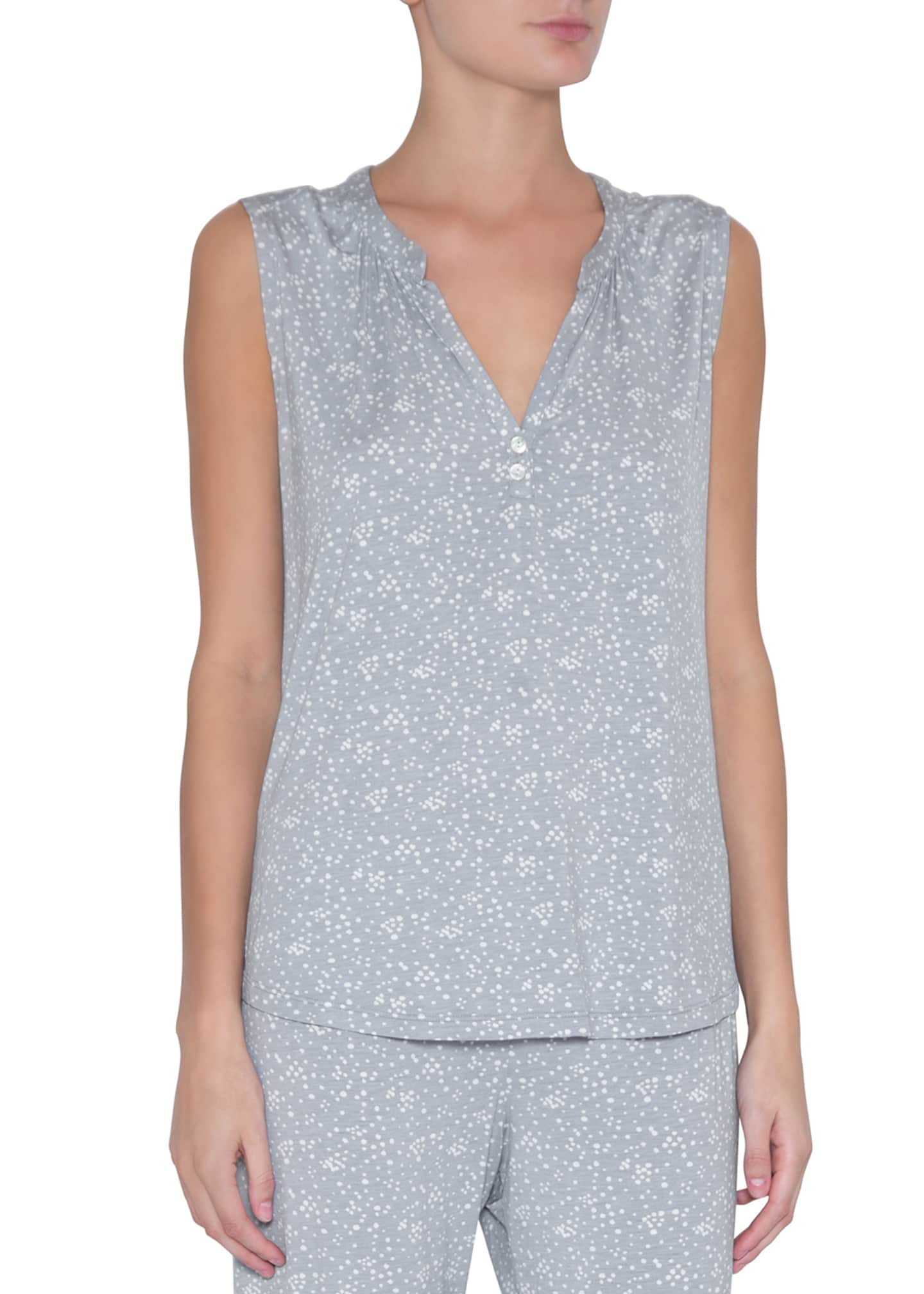 Image 1 of 2: Moon Dots Sleeveless Peasant Top