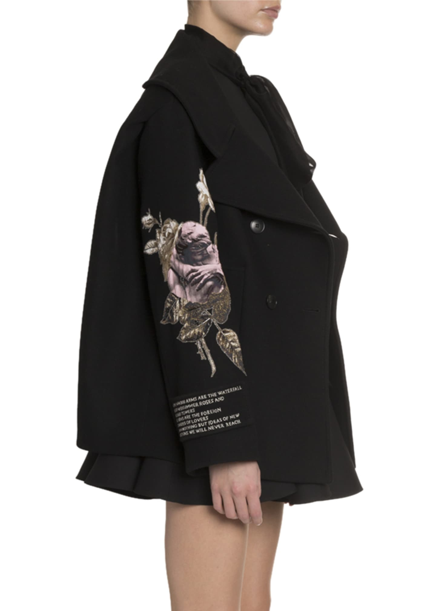 Image 2 of 4: Rose Embroidered Open-Collar Coat