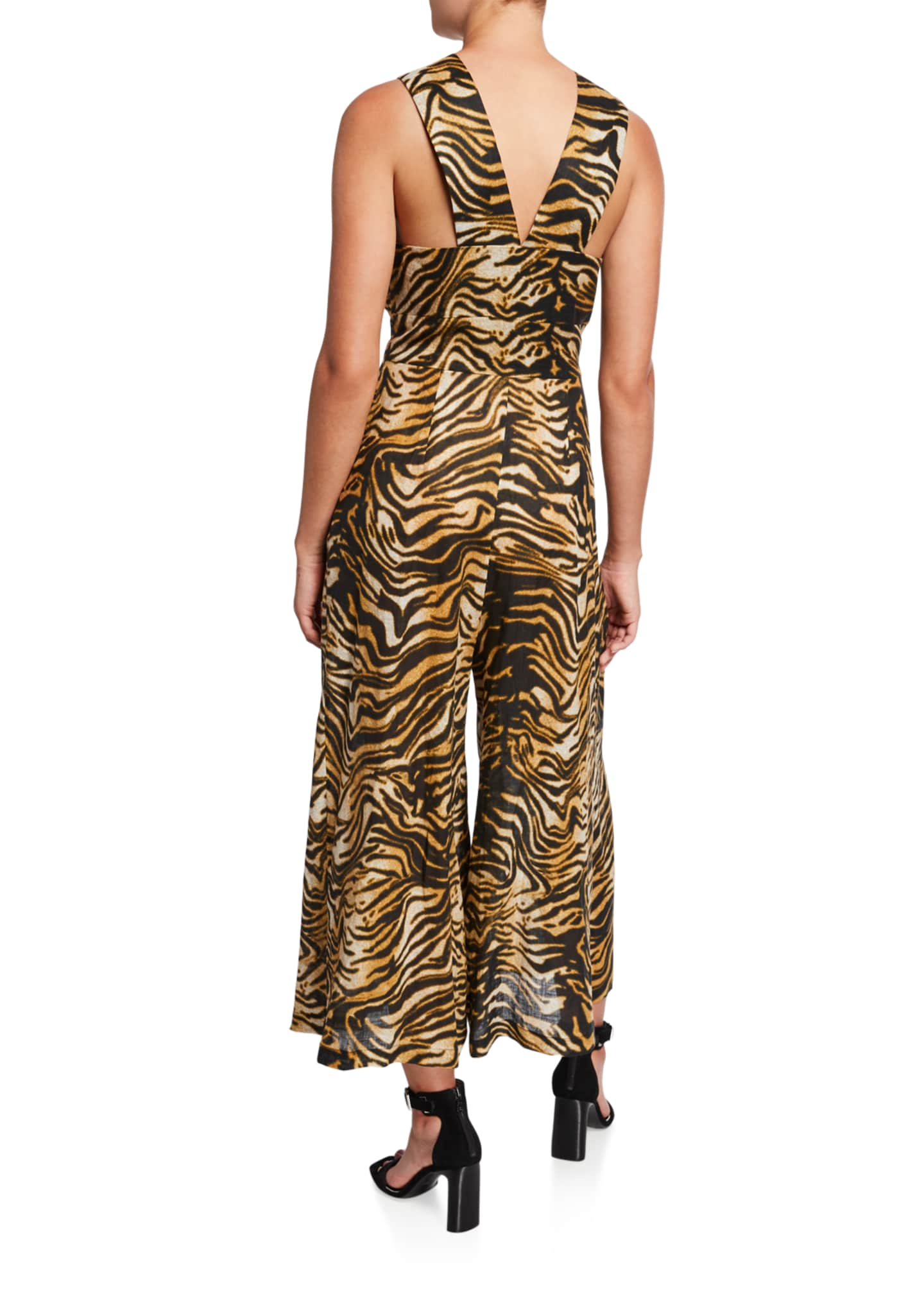 Image 2 of 2: Ines Animal-Print Zip-Front Jumpsuit