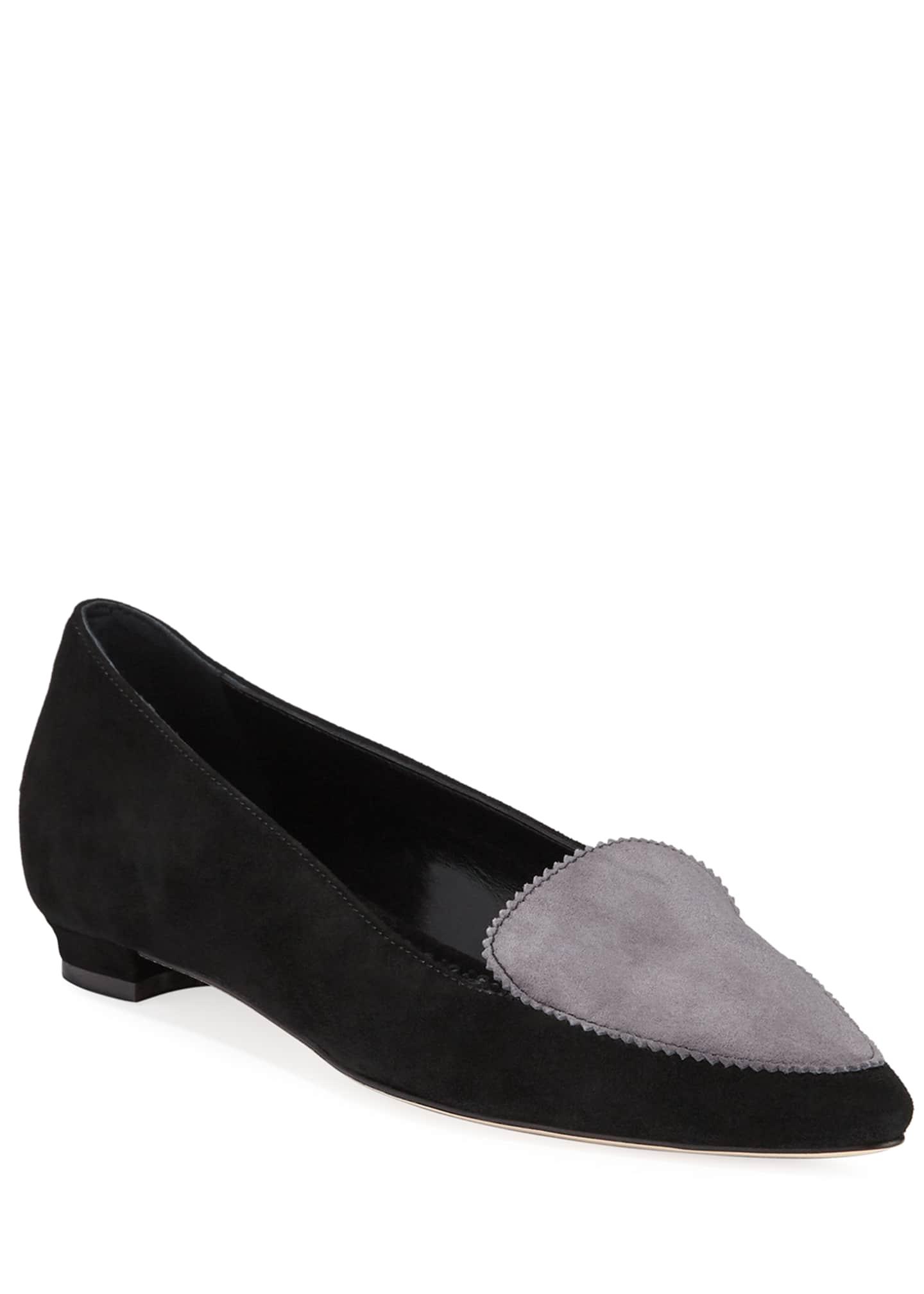 Manolo Blahnik Agos Two-Tone Suede Ballerina Flat Loafers