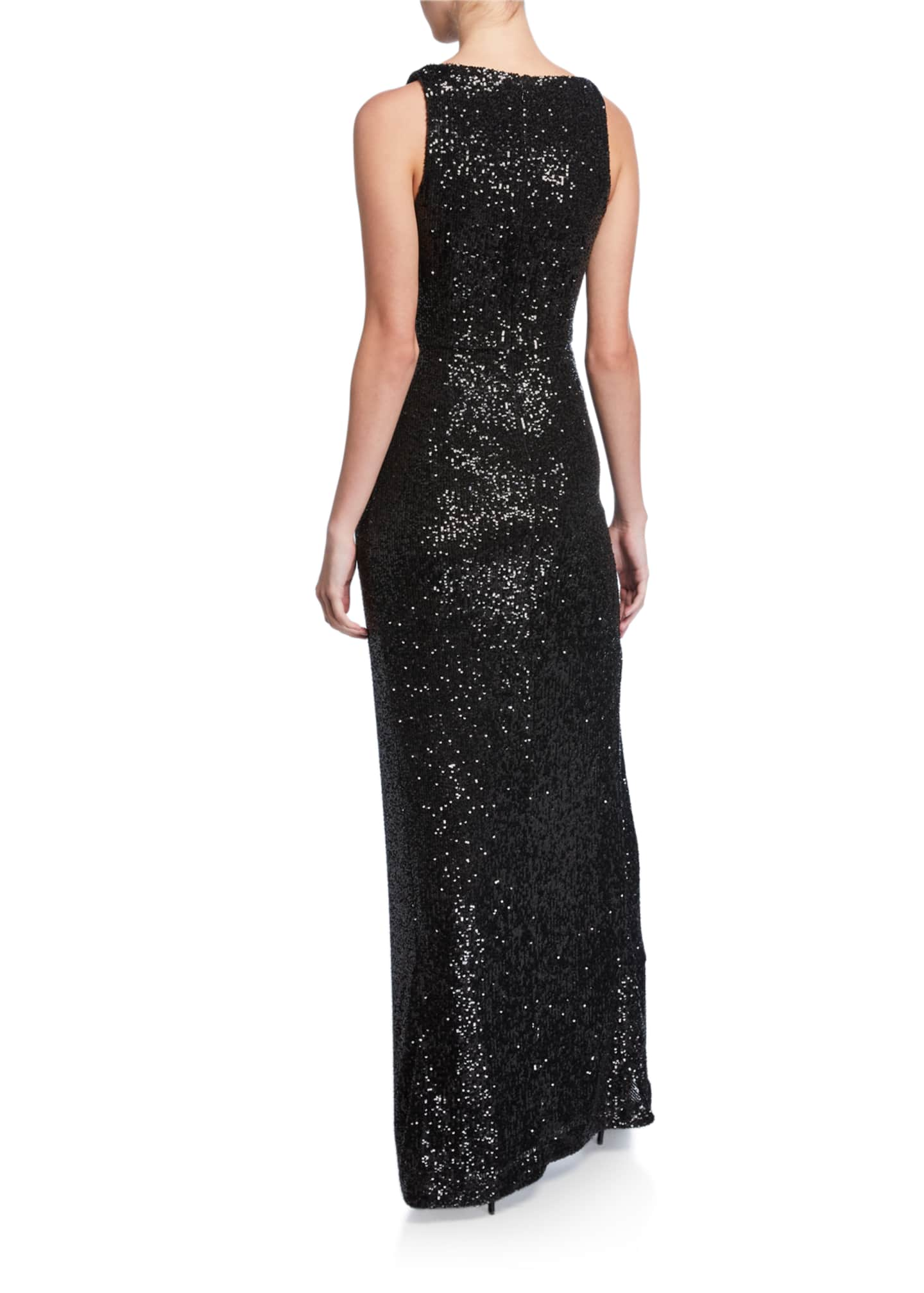 Image 2 of 2: Sequined Ruched Column Gown
