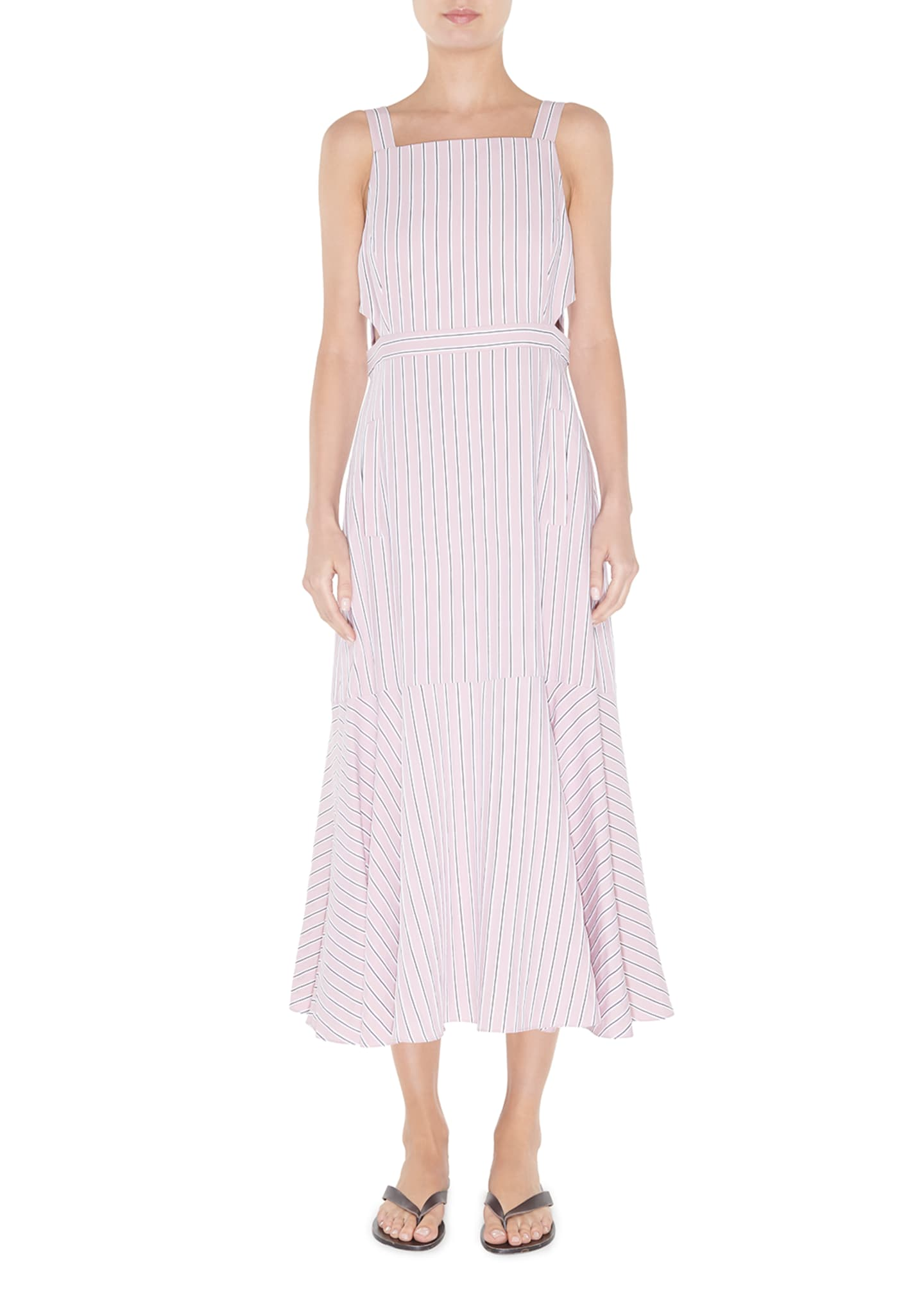 Tibi Striped Viscose Twill Strappy Flared Dress