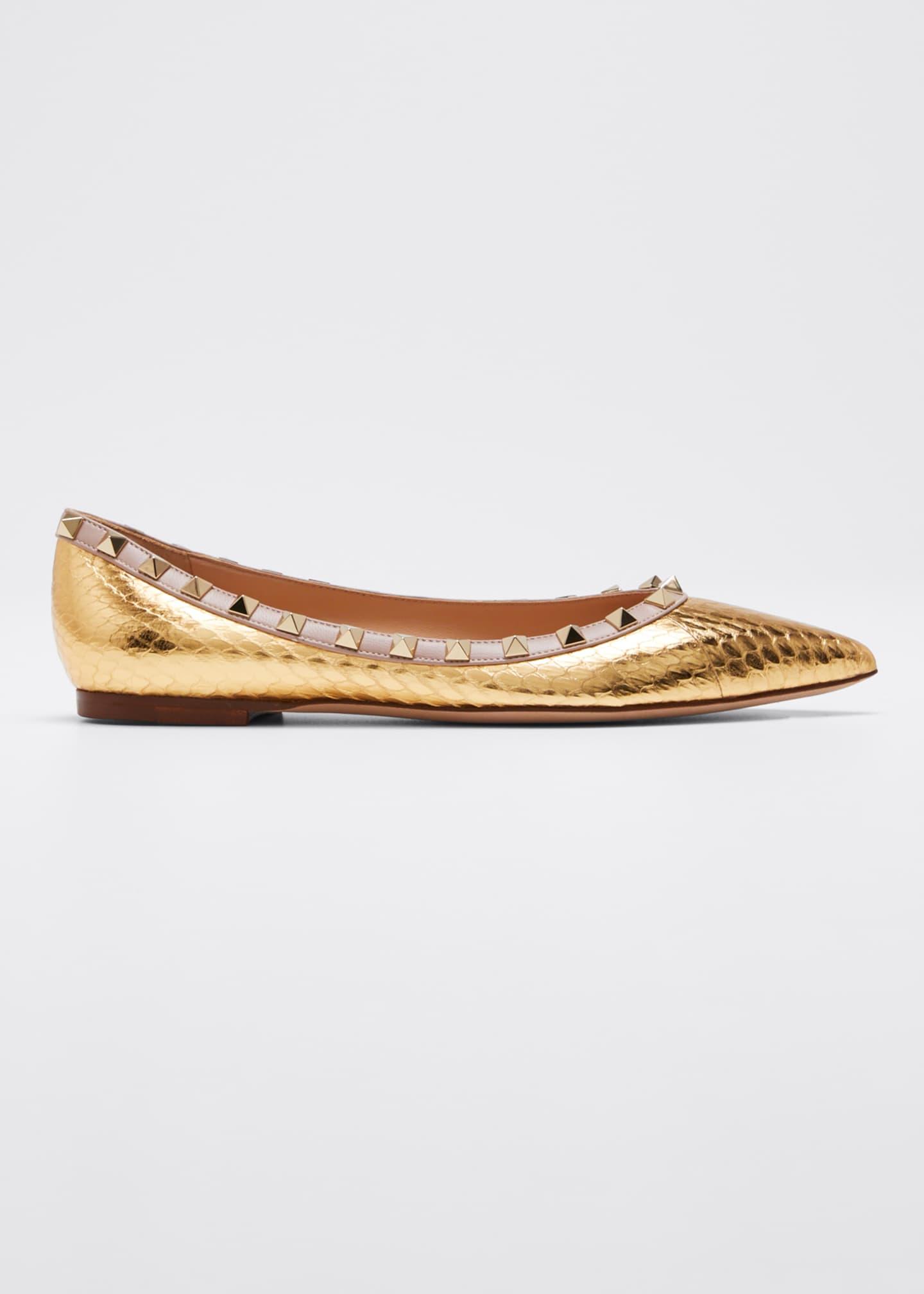 Valentino Rockstud Metallic Snakeskin Ballet Flats