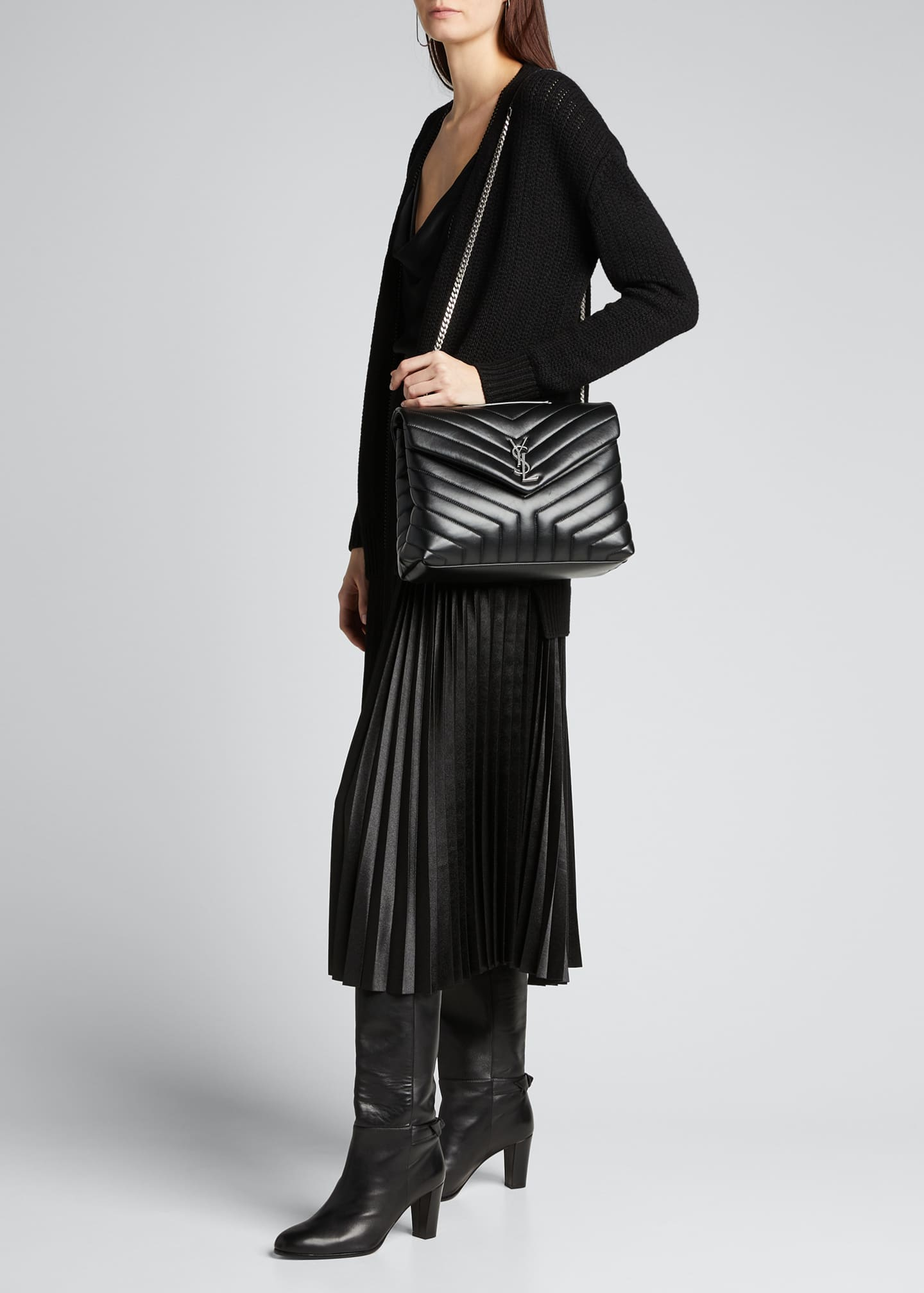Image 5 of 5: Loulou Medium YSL Matelasse Calfskin Flap-Top Shoulder Bag