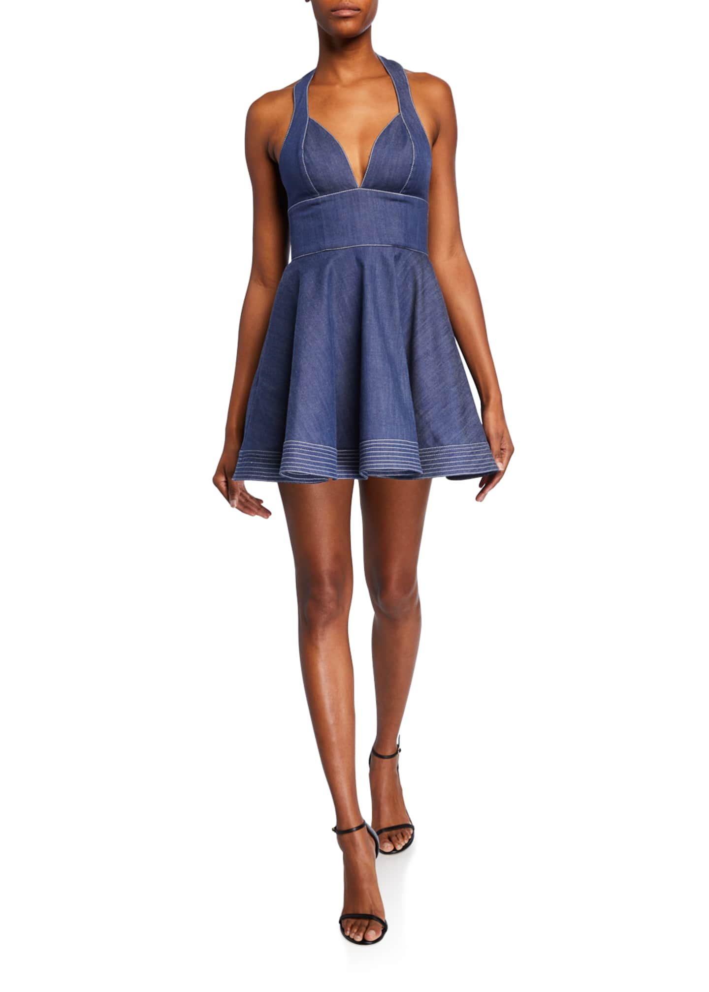Alexis Tarrana Halter Flounce Chambray Short Dress