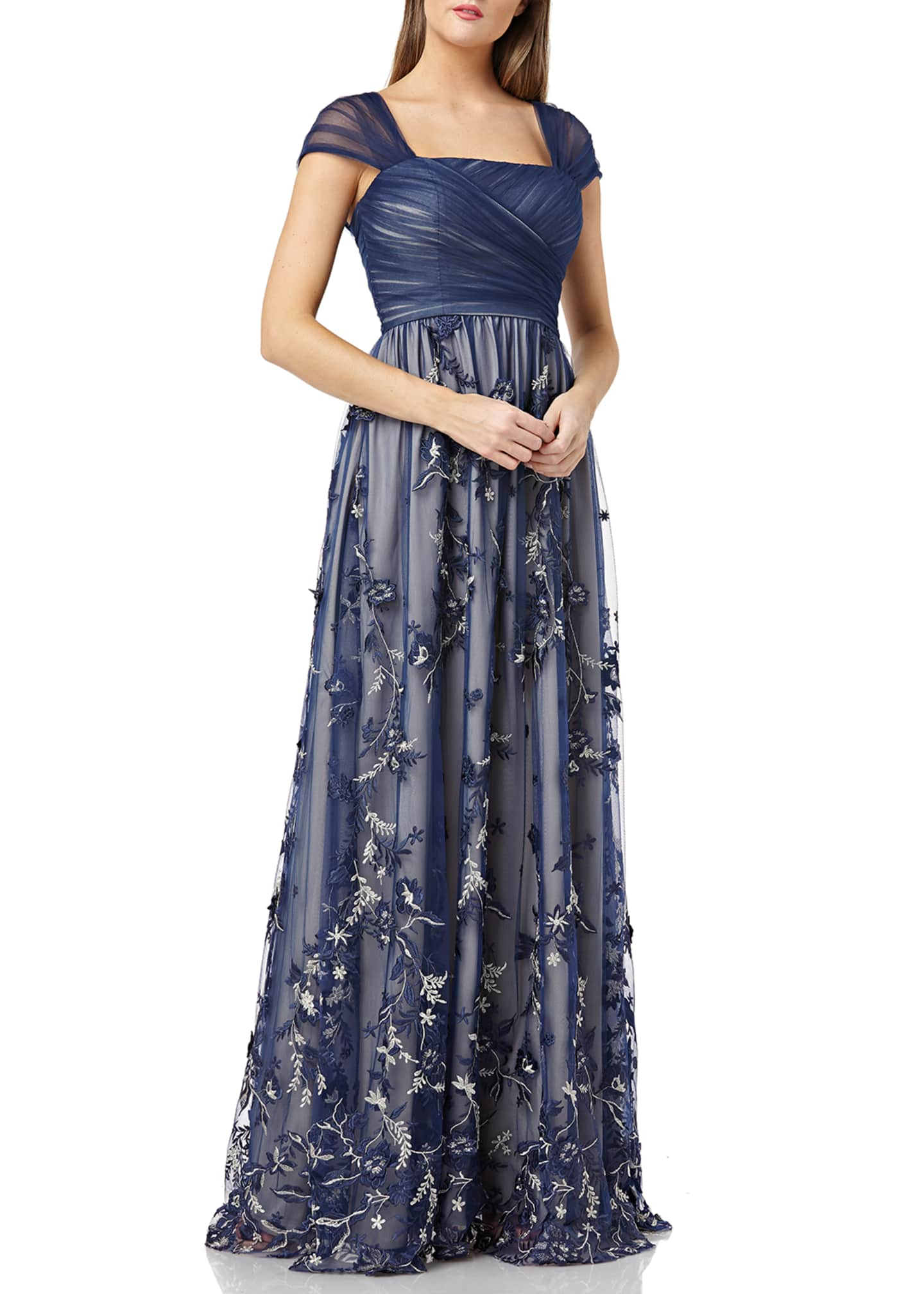 Carmen Marc Valvo Infusion Cap-Sleeve Draped-Bodice Tulle Gown