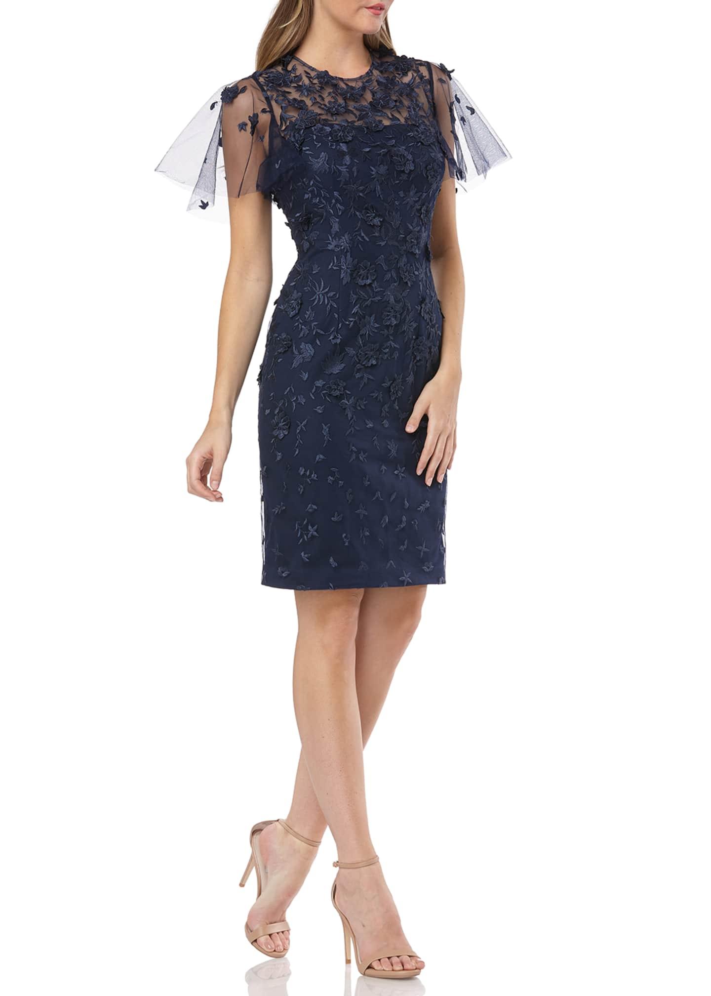 Carmen Marc Valvo Infusion Flutter-Sleeve 3D Novelty Lace