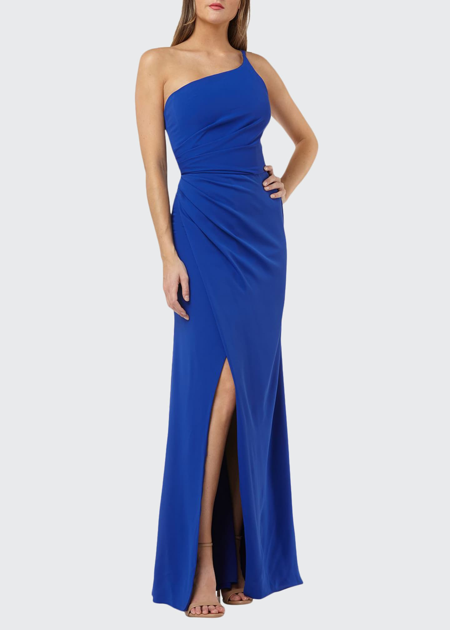 Carmen Marc Valvo Infusion One-Shoulder Crepe Gown with