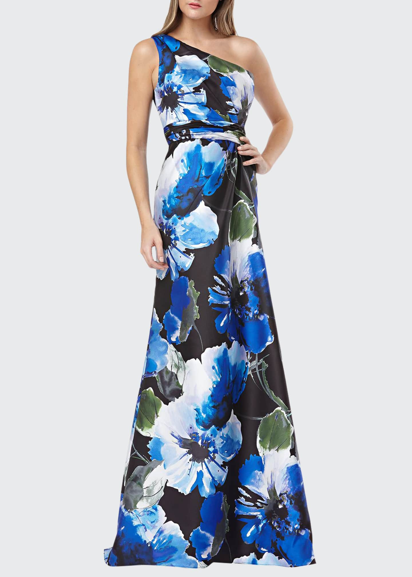 Carmen Marc Valvo Infusion Floral-Printed One-Shoulder Mikado