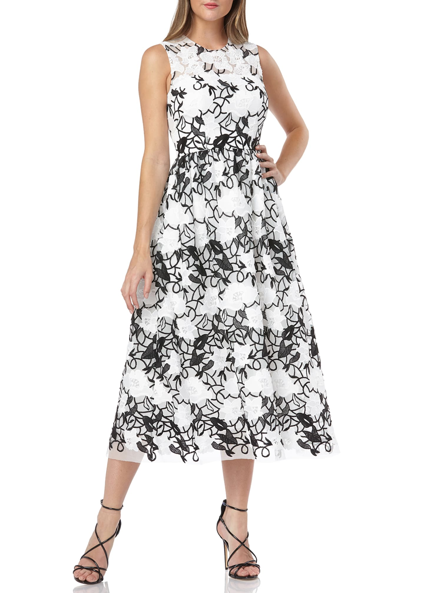 Carmen Marc Valvo Infusion Sleeveless Embroidered Lace