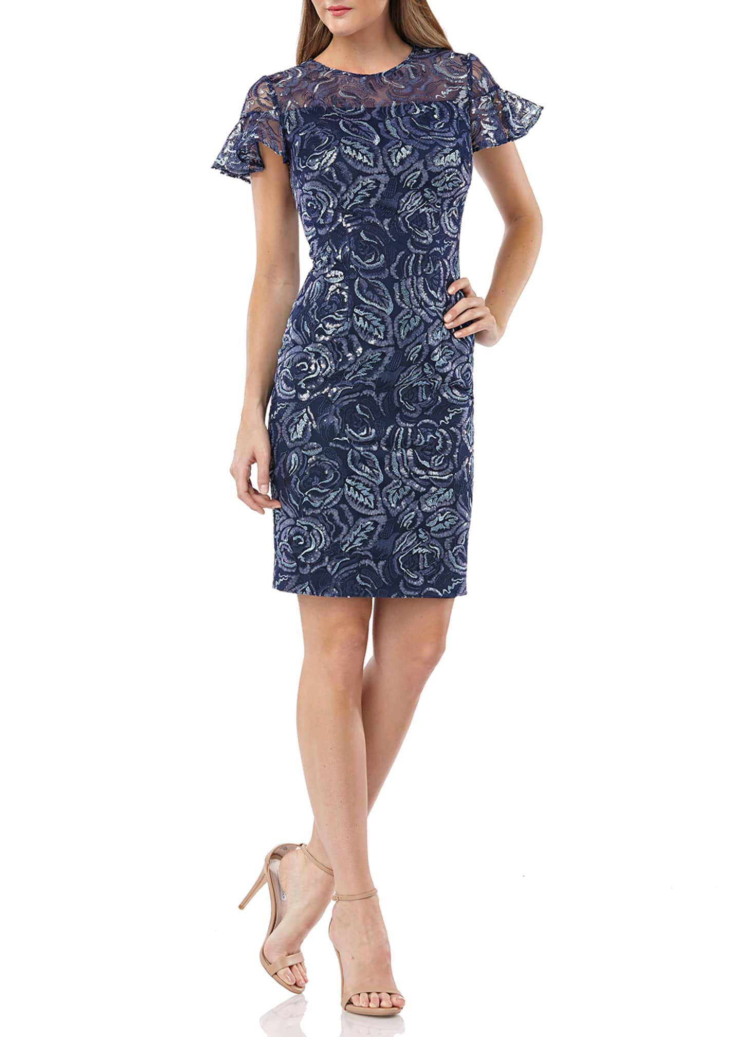 Carmen Marc Valvo Infusion Embroidered Ruffle-Sleeve Cocktail