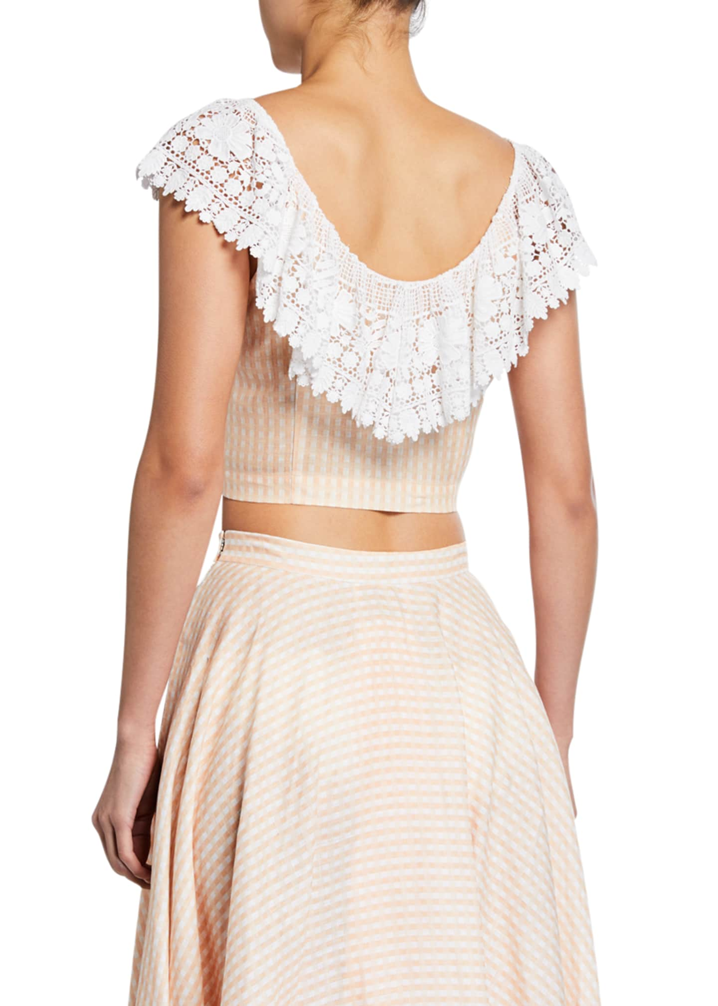 Image 2 of 2: Effie Linen Cropped Blouse with Lace