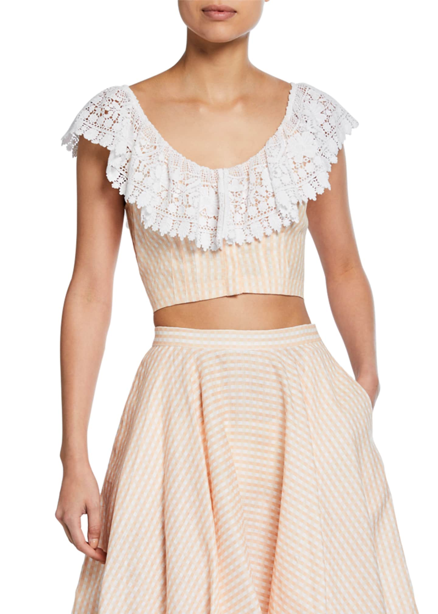 Image 1 of 2: Effie Linen Cropped Blouse with Lace