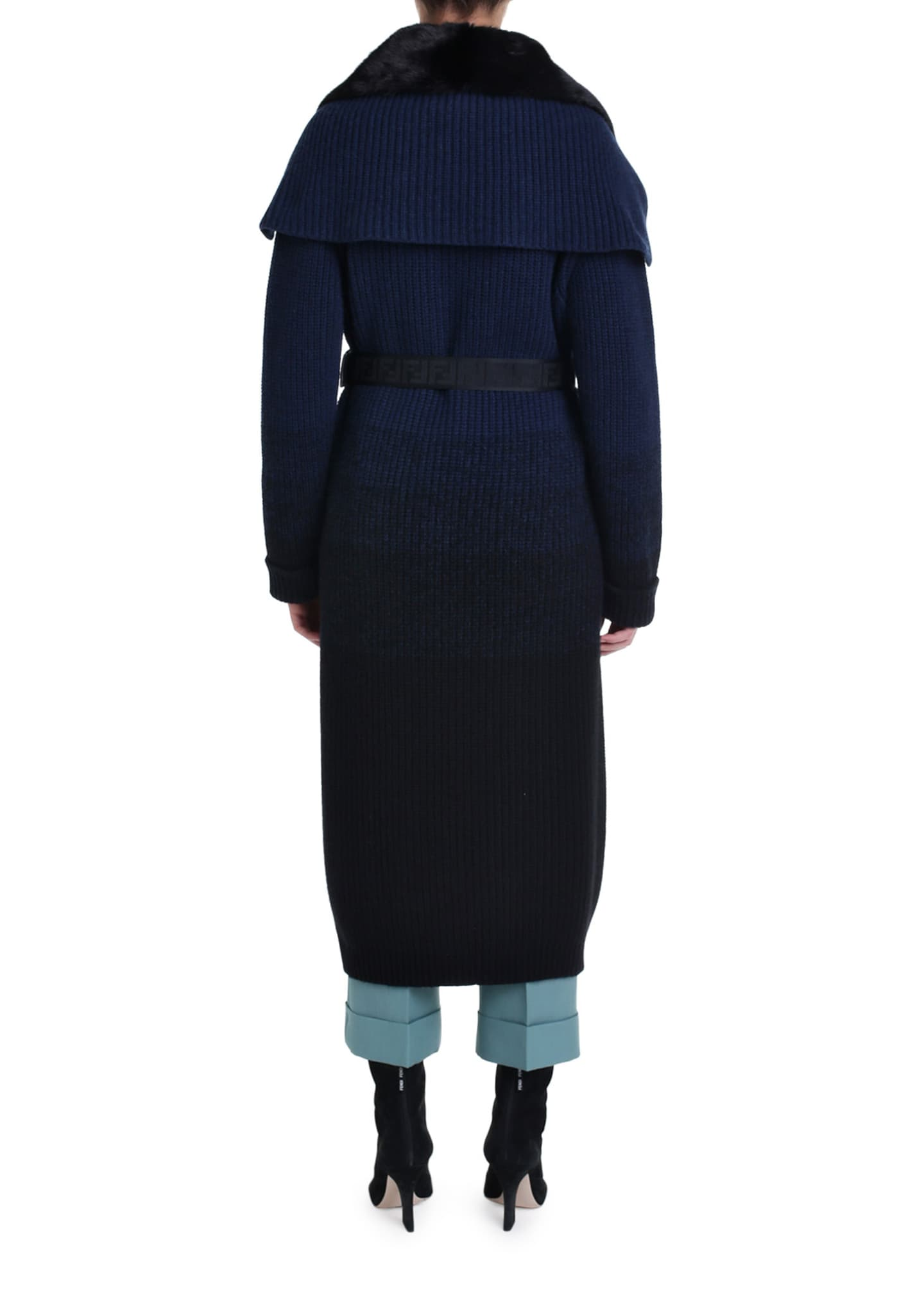 Image 2 of 3: Ombre Ribbed Knit Coat
