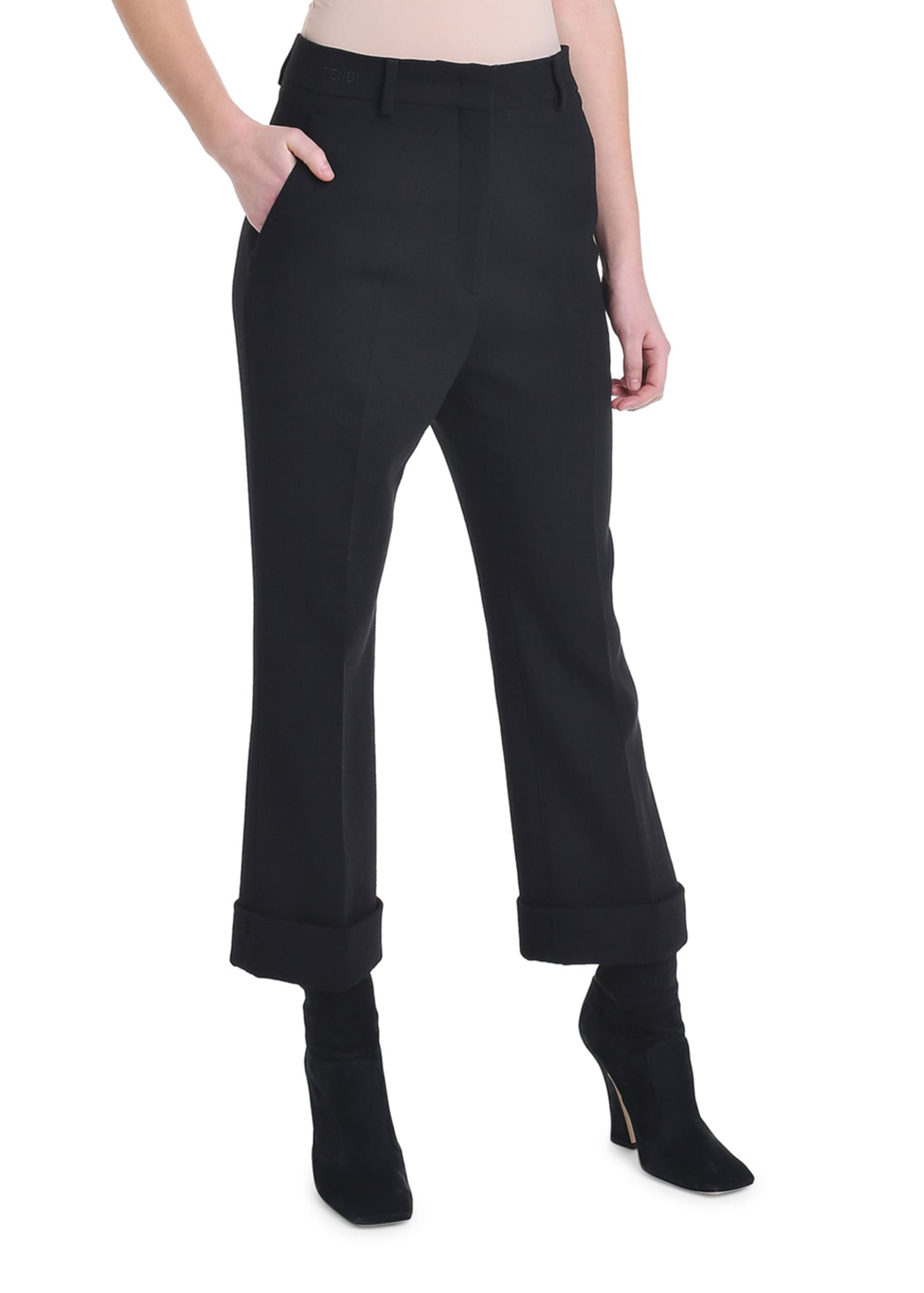 Image 4 of 4: Cropped Wool Crepe Skinny Pants
