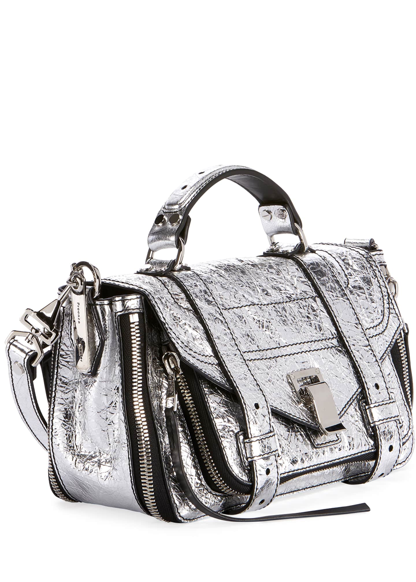 Image 2 of 3: PS1+ Tiny Metallic Leather Satchel Bag