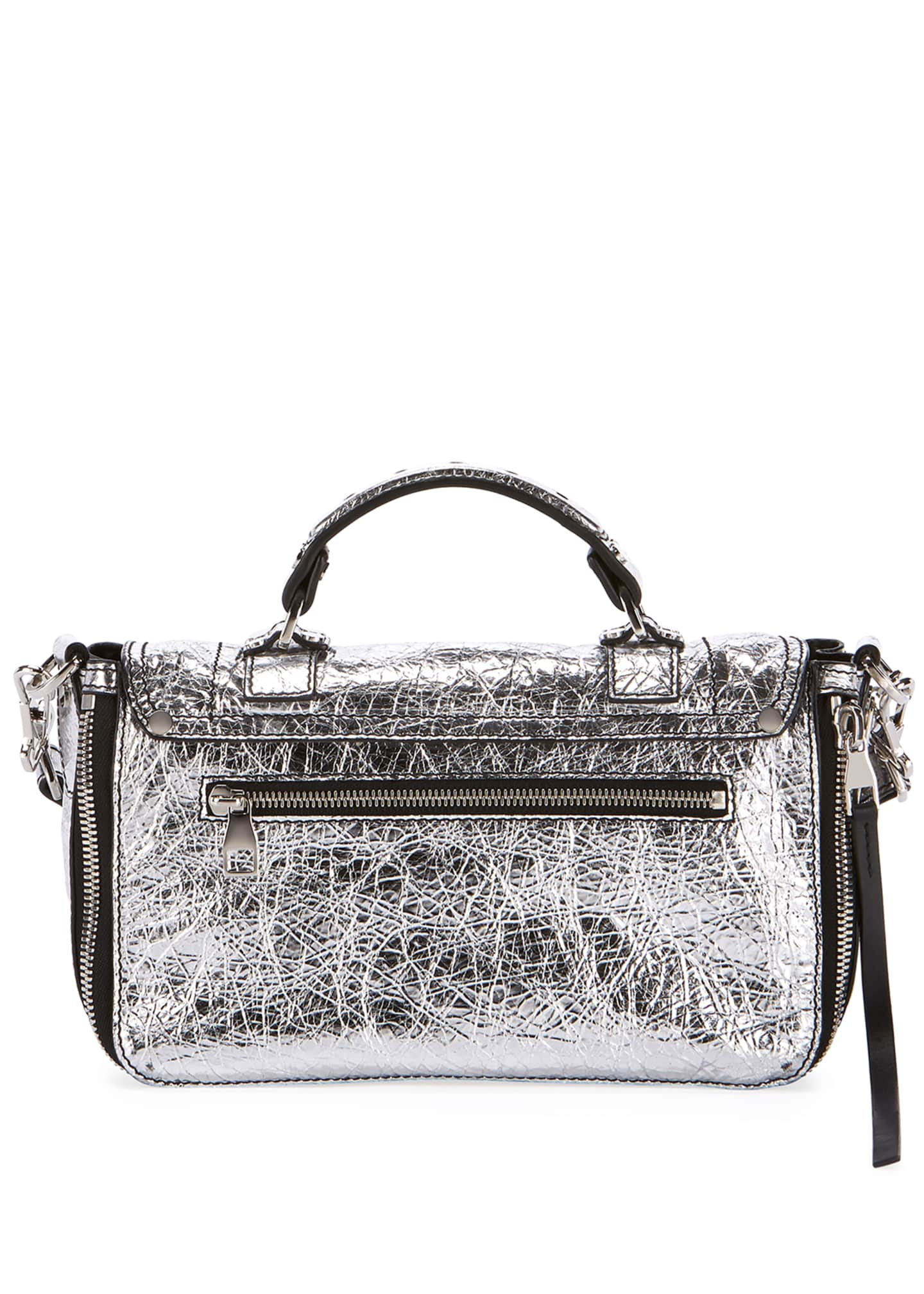 Image 3 of 3: PS1+ Tiny Metallic Leather Satchel Bag