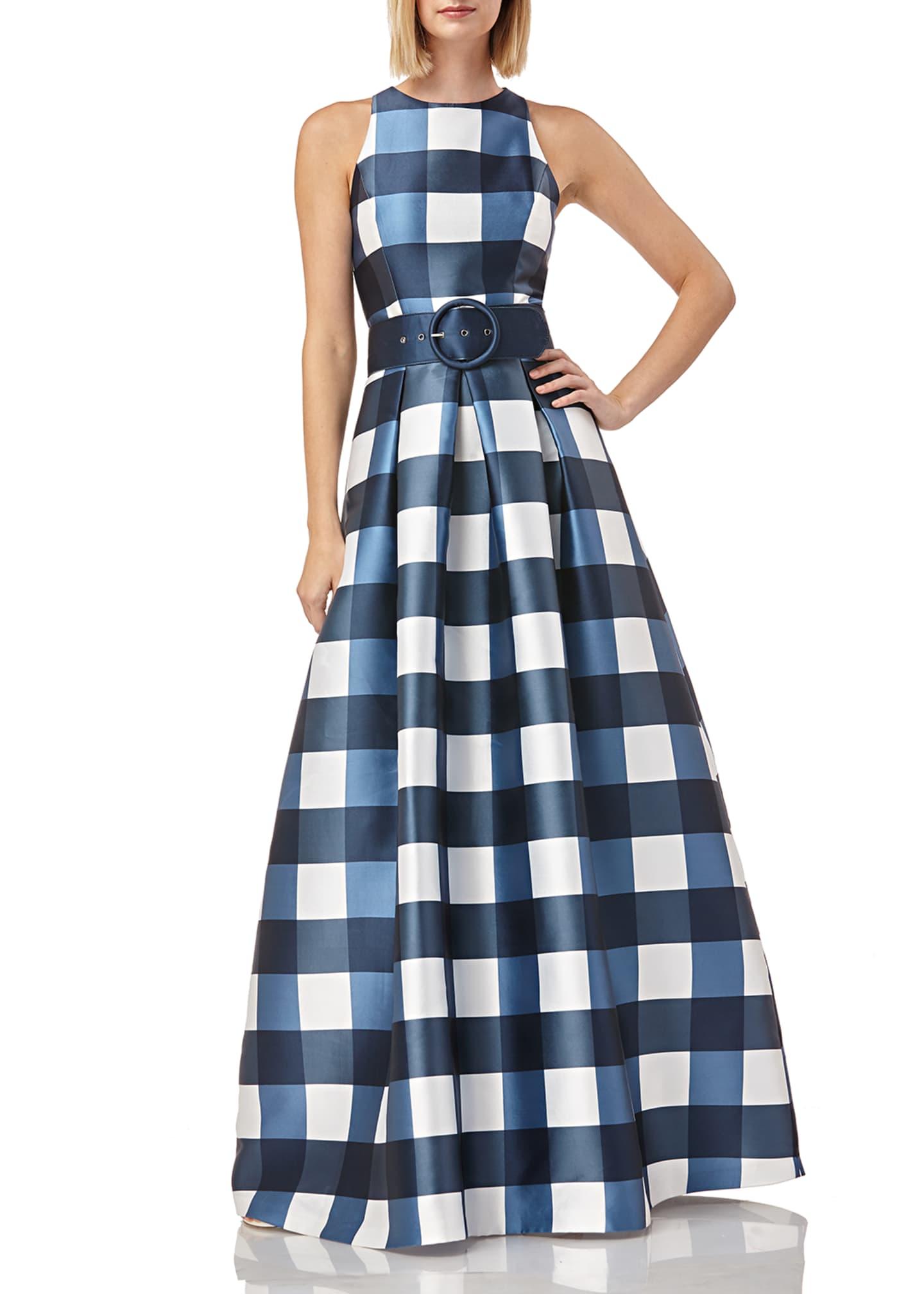 Kay Unger New York Gingham-Printed Sleeveless Mikado Gown