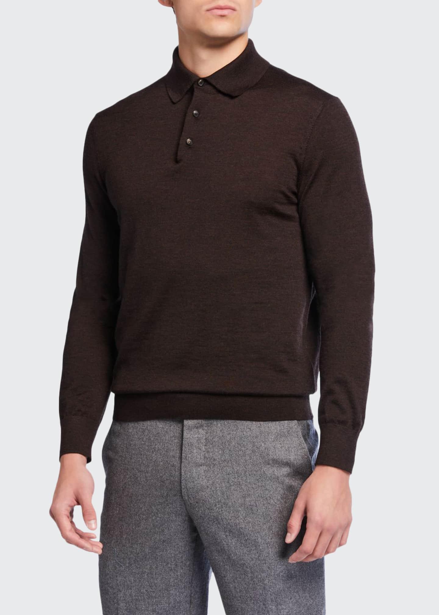 Ermenegildo Zegna Men's Long-Sleeve Cashmere-Silk Polo Shirt,