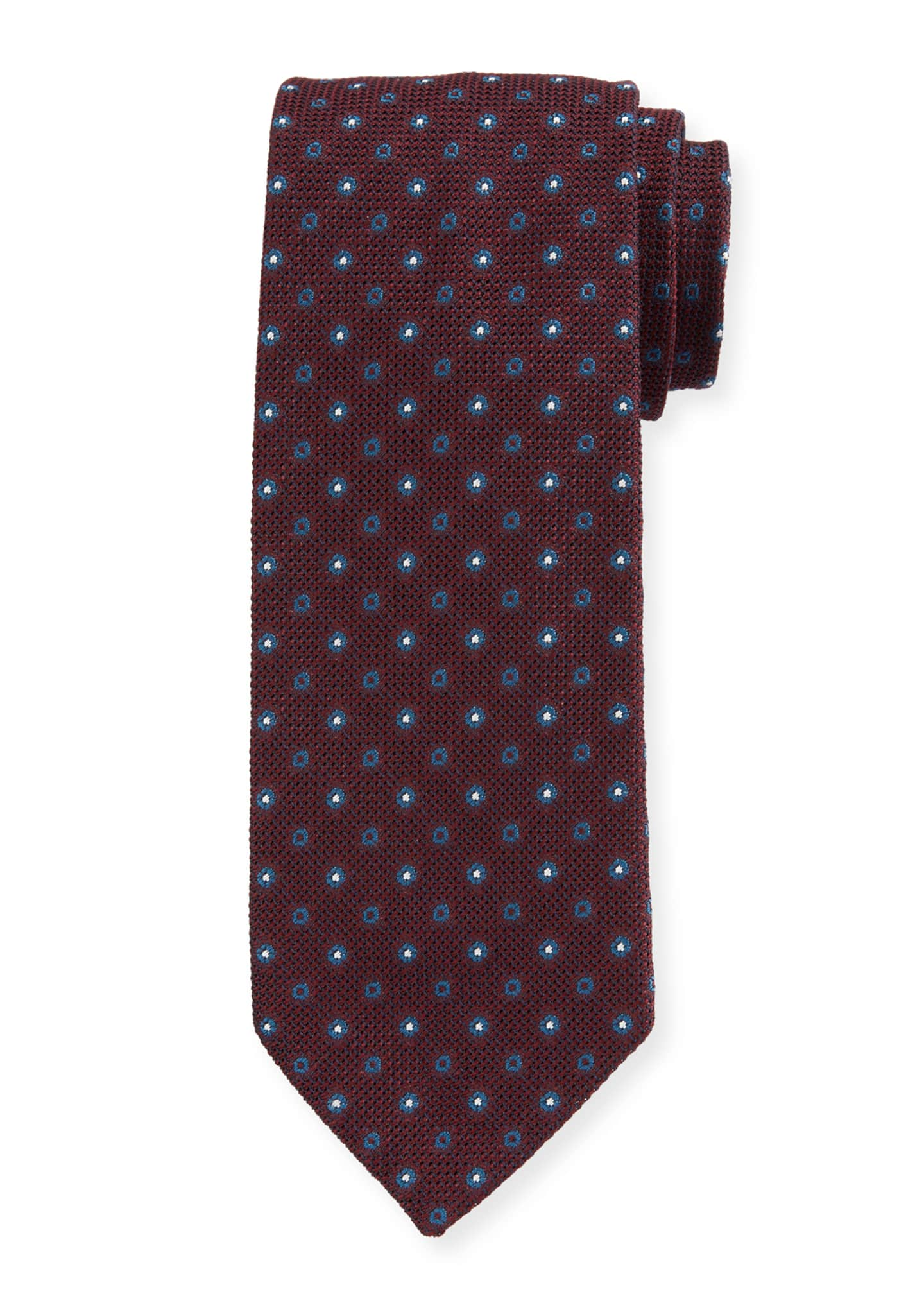 Bigi Men's Small-Dot Silk Grenadine Tie