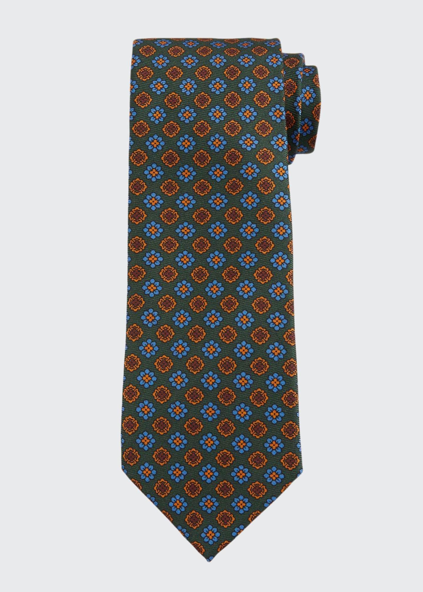 Bigi Men's Vintage Floral Silk Tie, Green