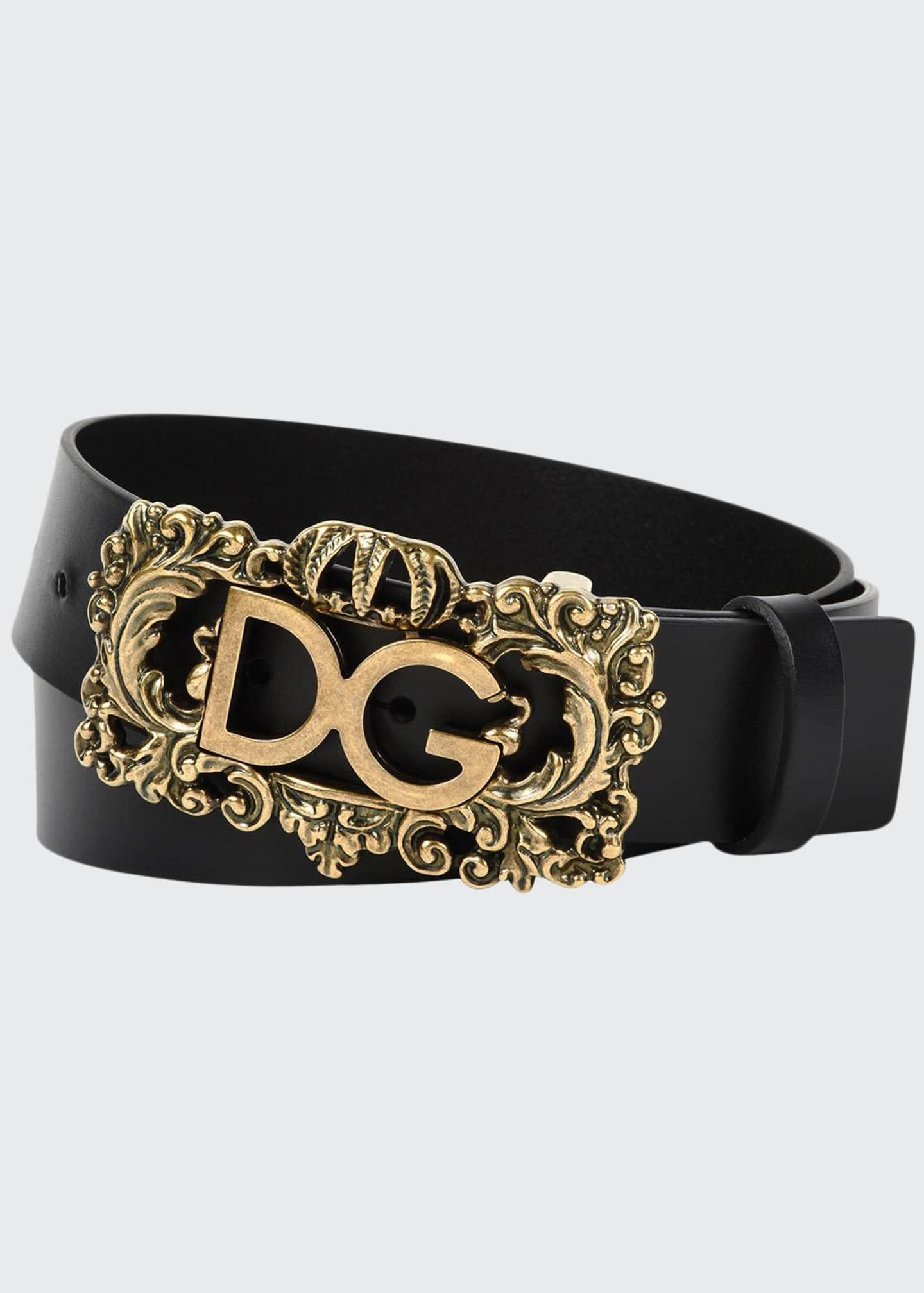 Dolce & Gabbana Men's Baroque Logo Leather Belt