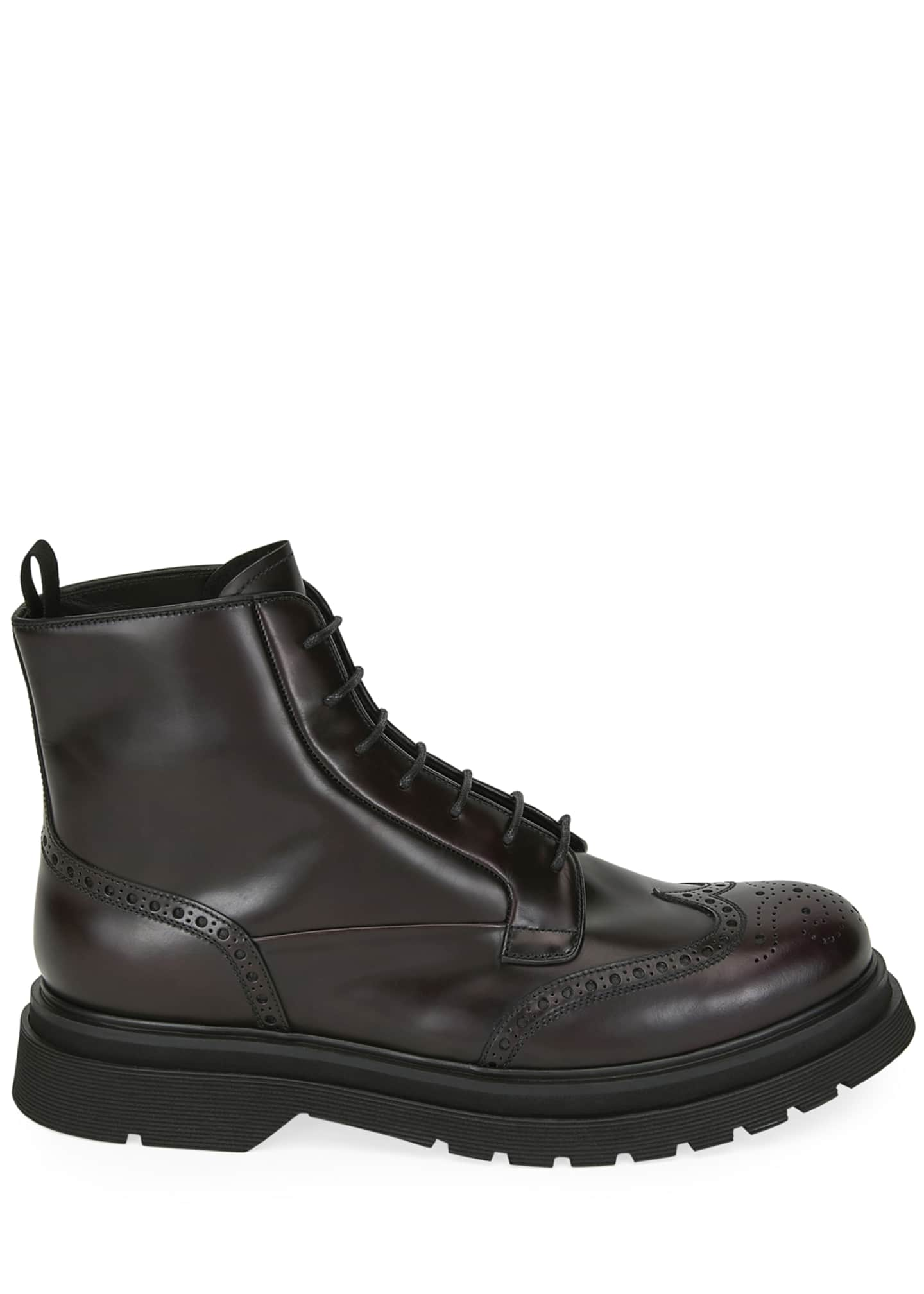 Image 2 of 3: Men's Wing-Tip Leather Combat Boots