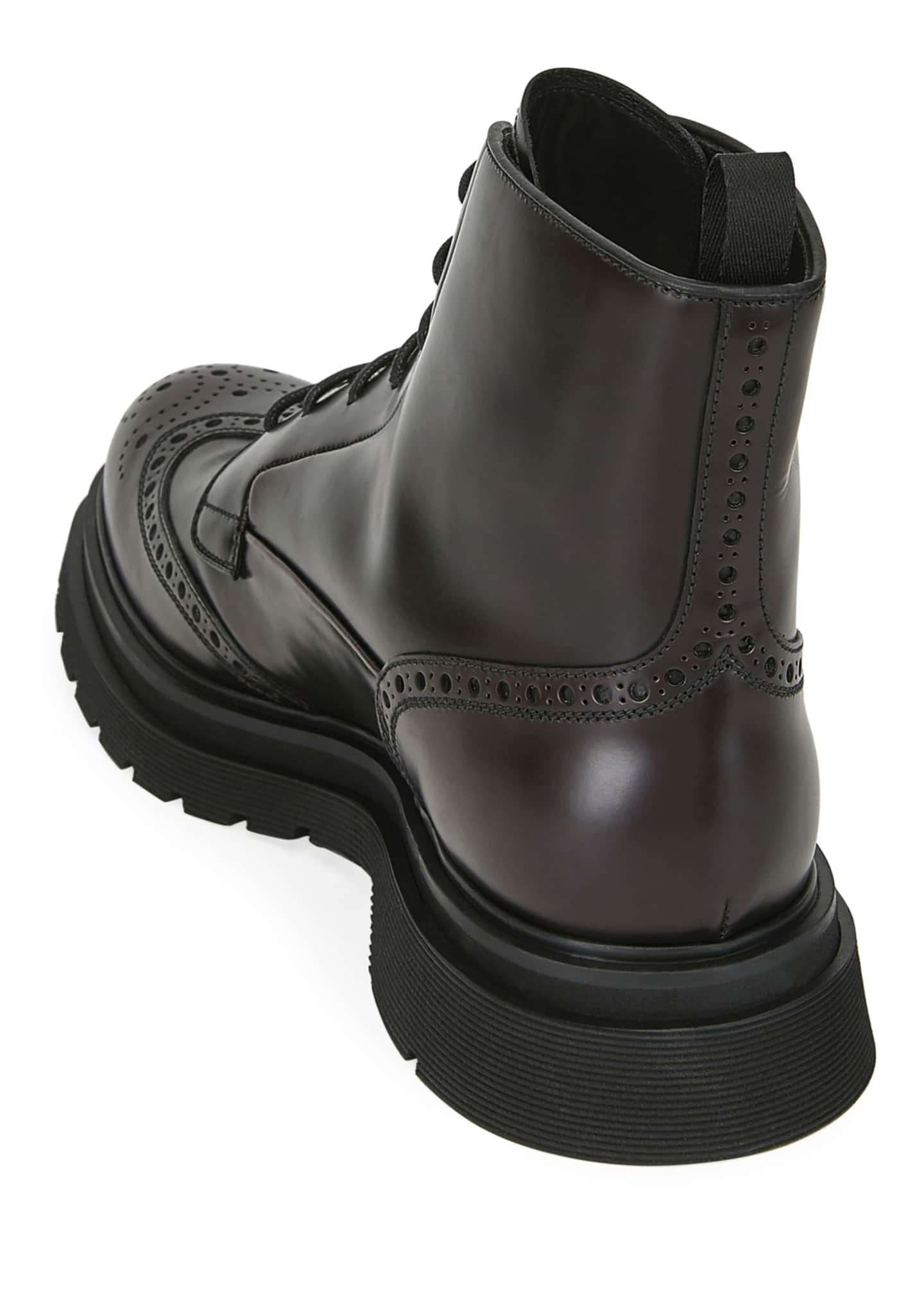 Image 3 of 3: Men's Wing-Tip Leather Combat Boots
