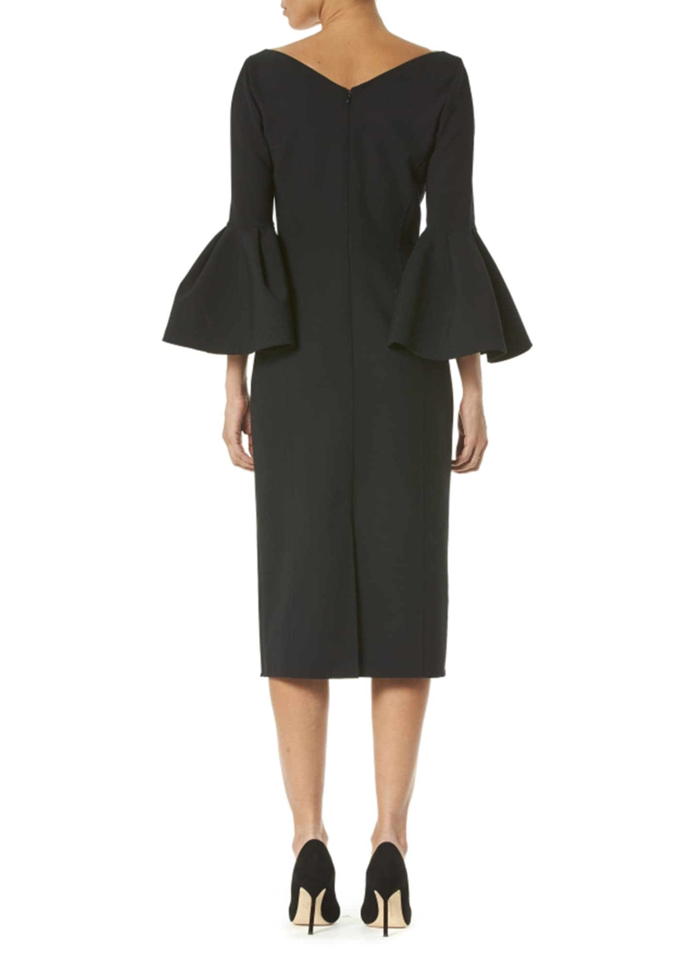 Image 2 of 2: Open V-Neck Bell-Sleeve Dress