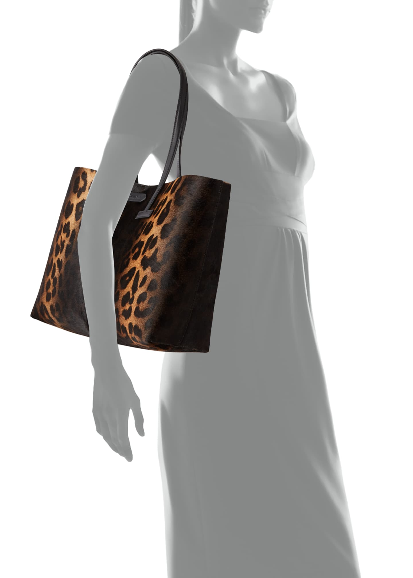 Image 3 of 3: Small Leopard T Tote Bag