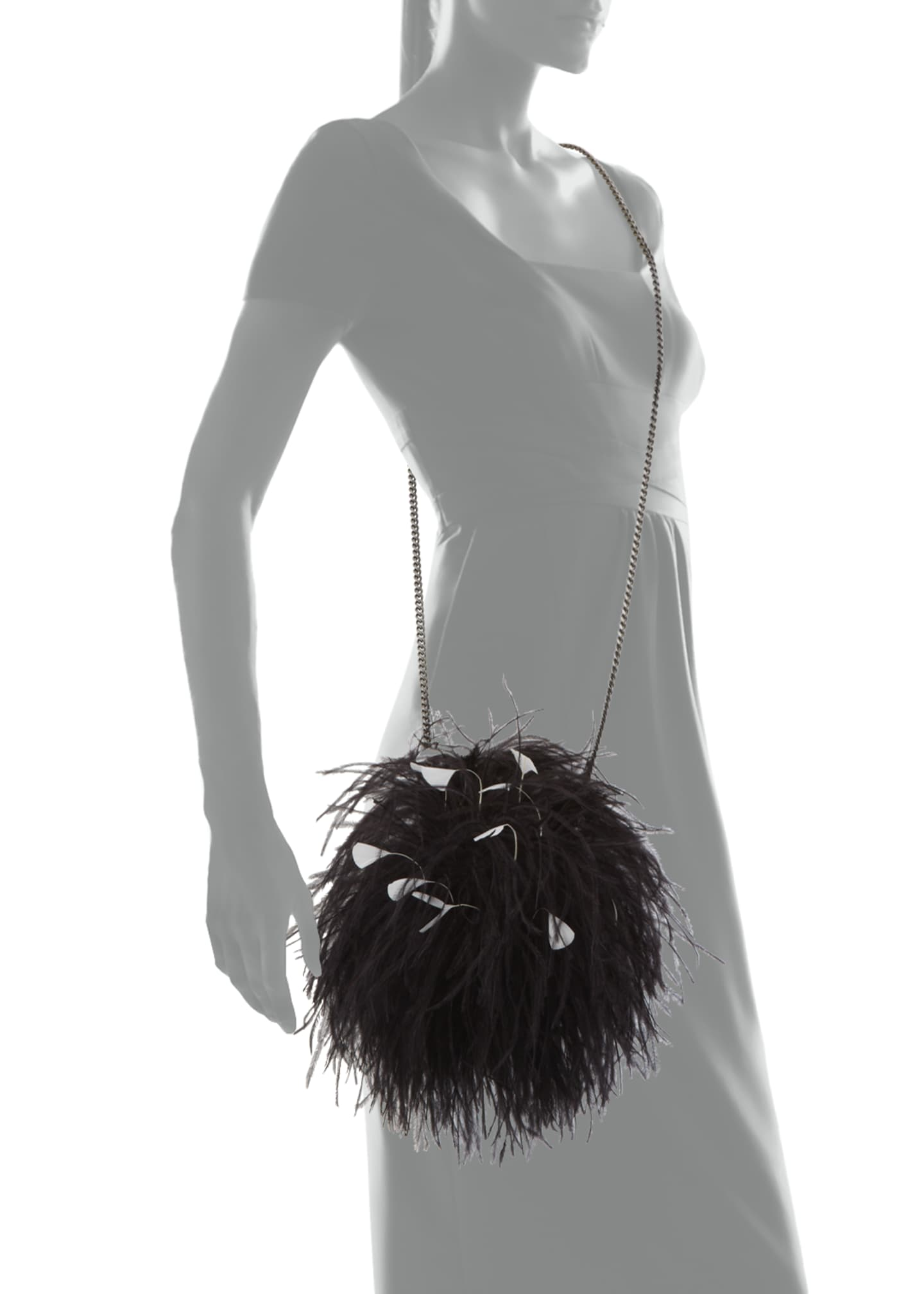 Image 3 of 3: Billard Faux-Feather Clutch Bag