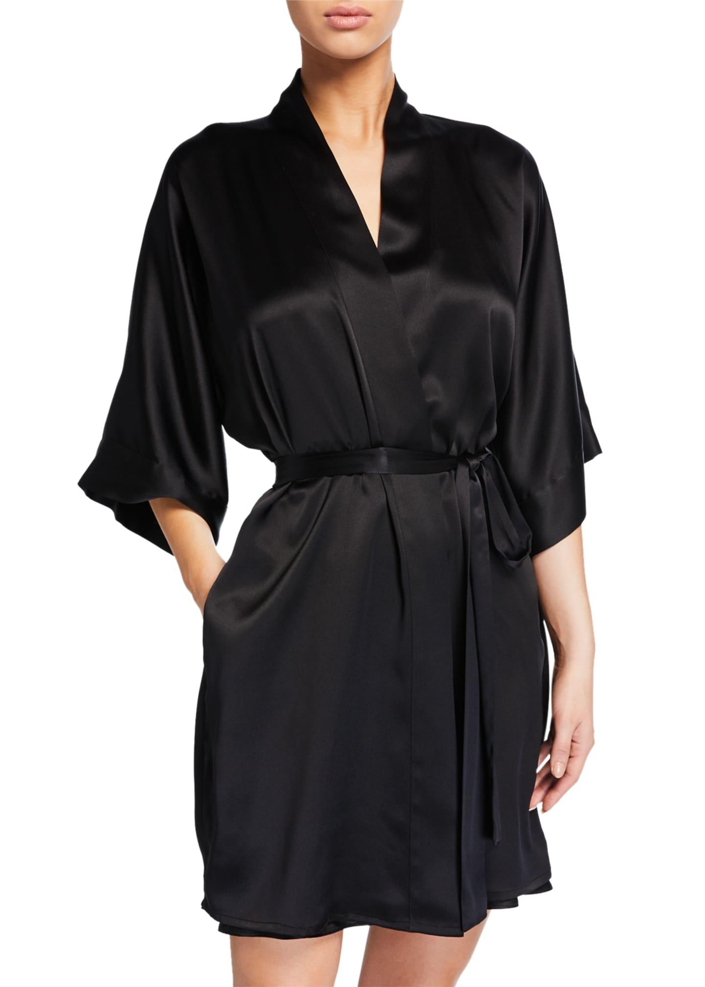 Christine Lingerie Solid Silk Short Robe