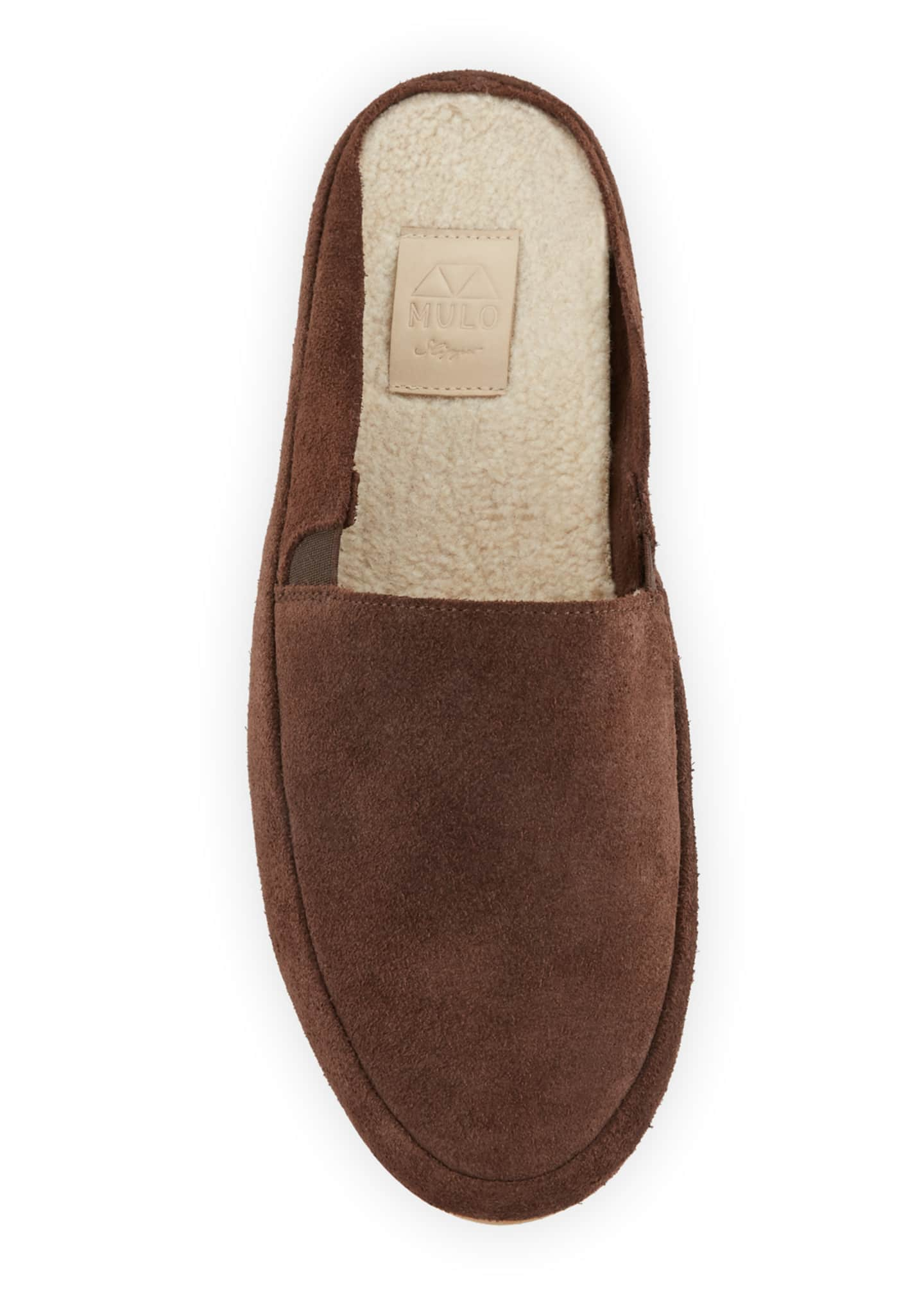 Image 2 of 3: Men's Suede Mule Slippers w/ Shearling Lining