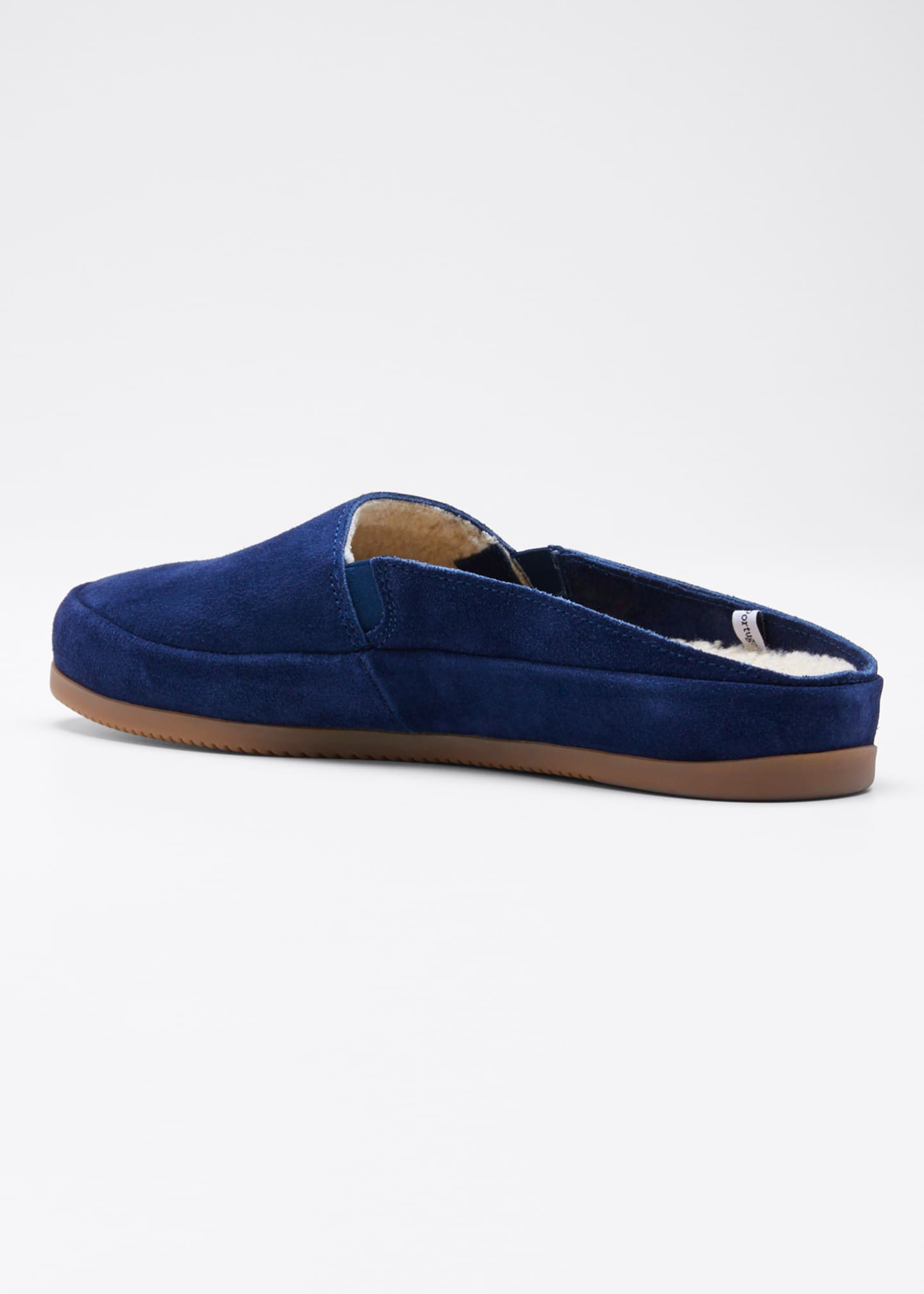 Image 2 of 3: Men's Suede Shearling Slippers