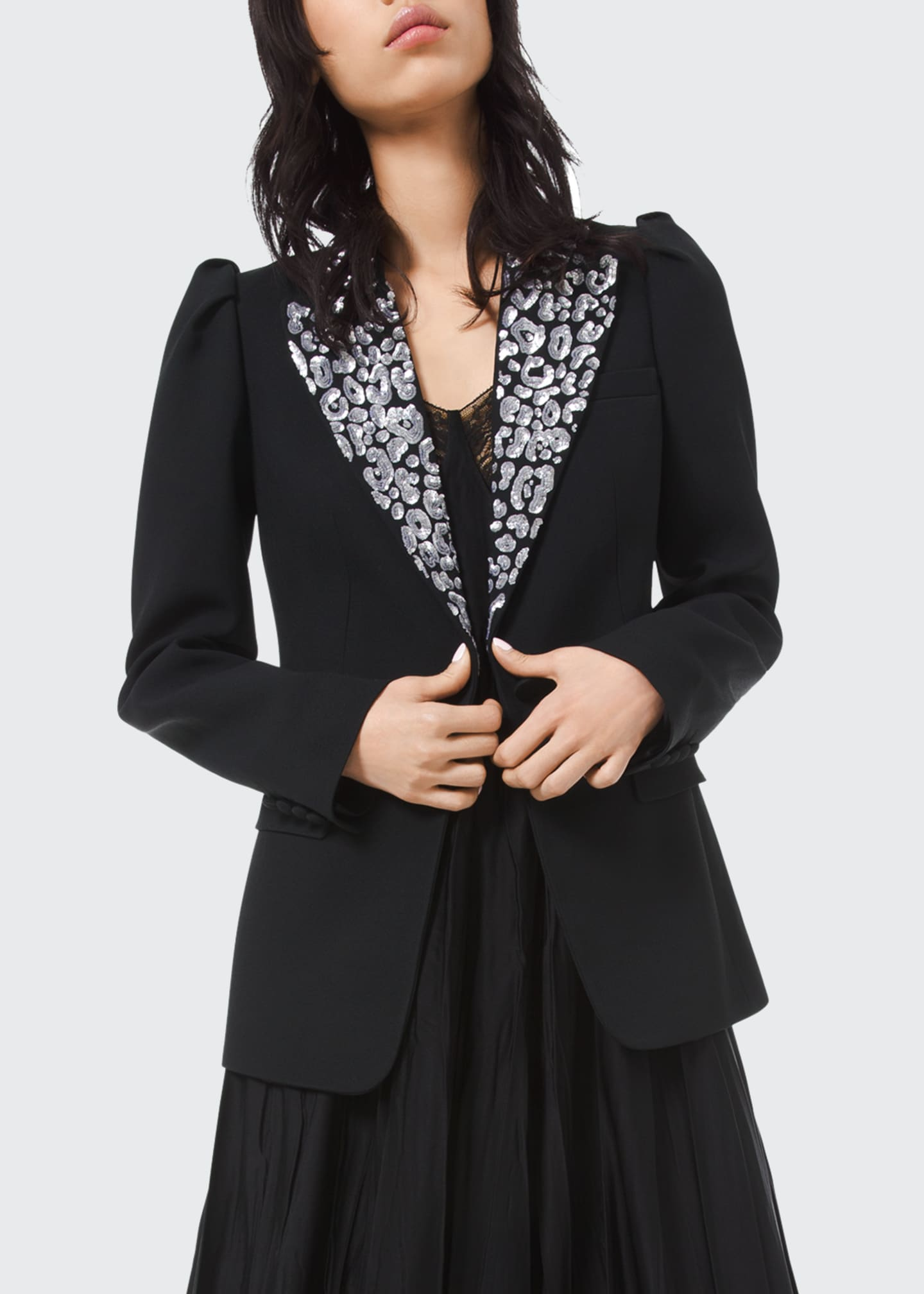 Image 1 of 2: Leopard Embroidered Puff Sleeve Blazer