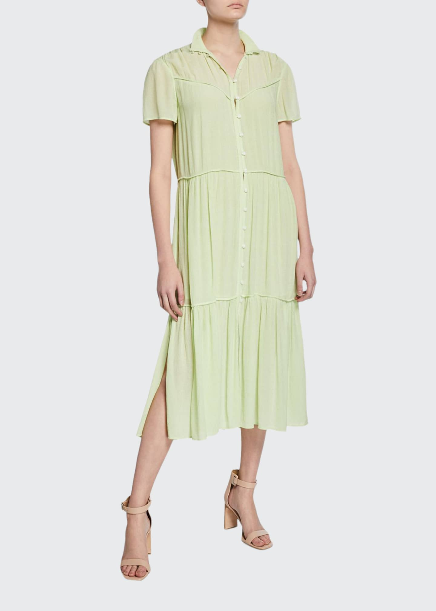 Rag & Bone Libby Tiered Seam Crinkle Dress