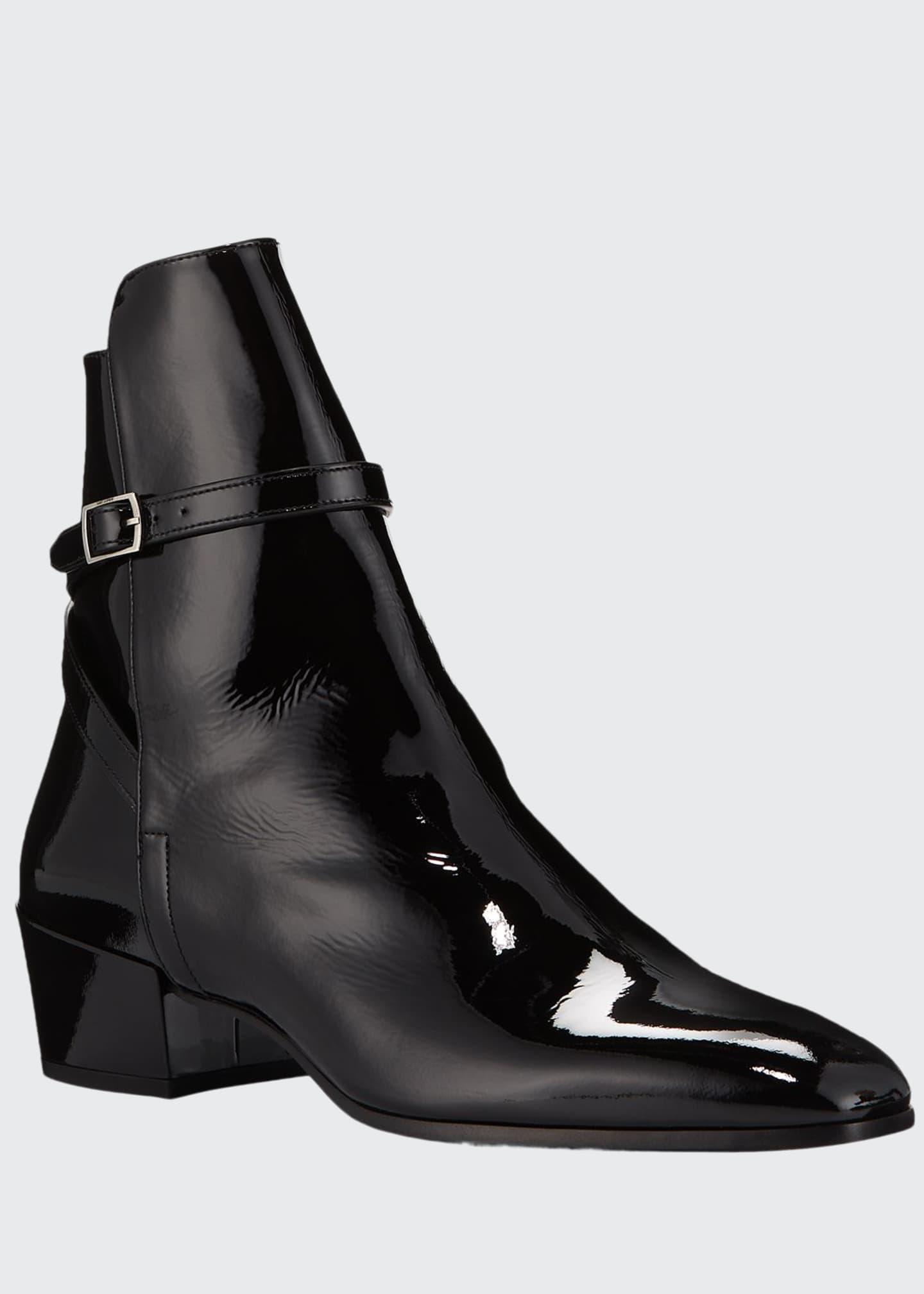 Saint Laurent Men's Clementi 40 Buckle-Strap Patent Leather