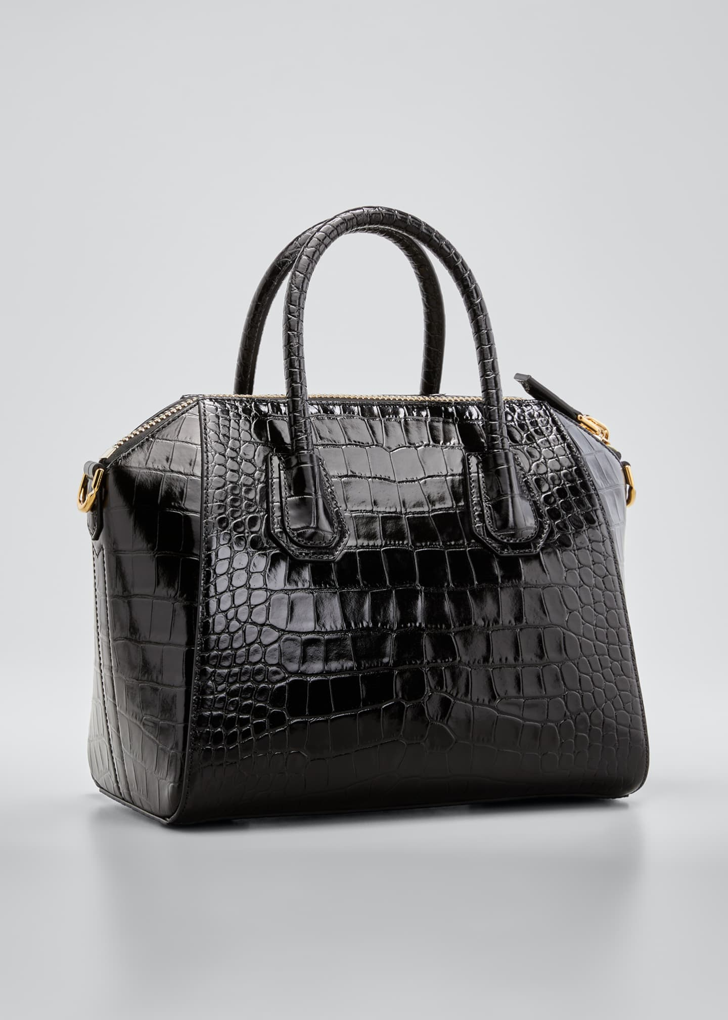 Image 3 of 4: Antigona Small Croc-Embossed Leather Satchel Bag