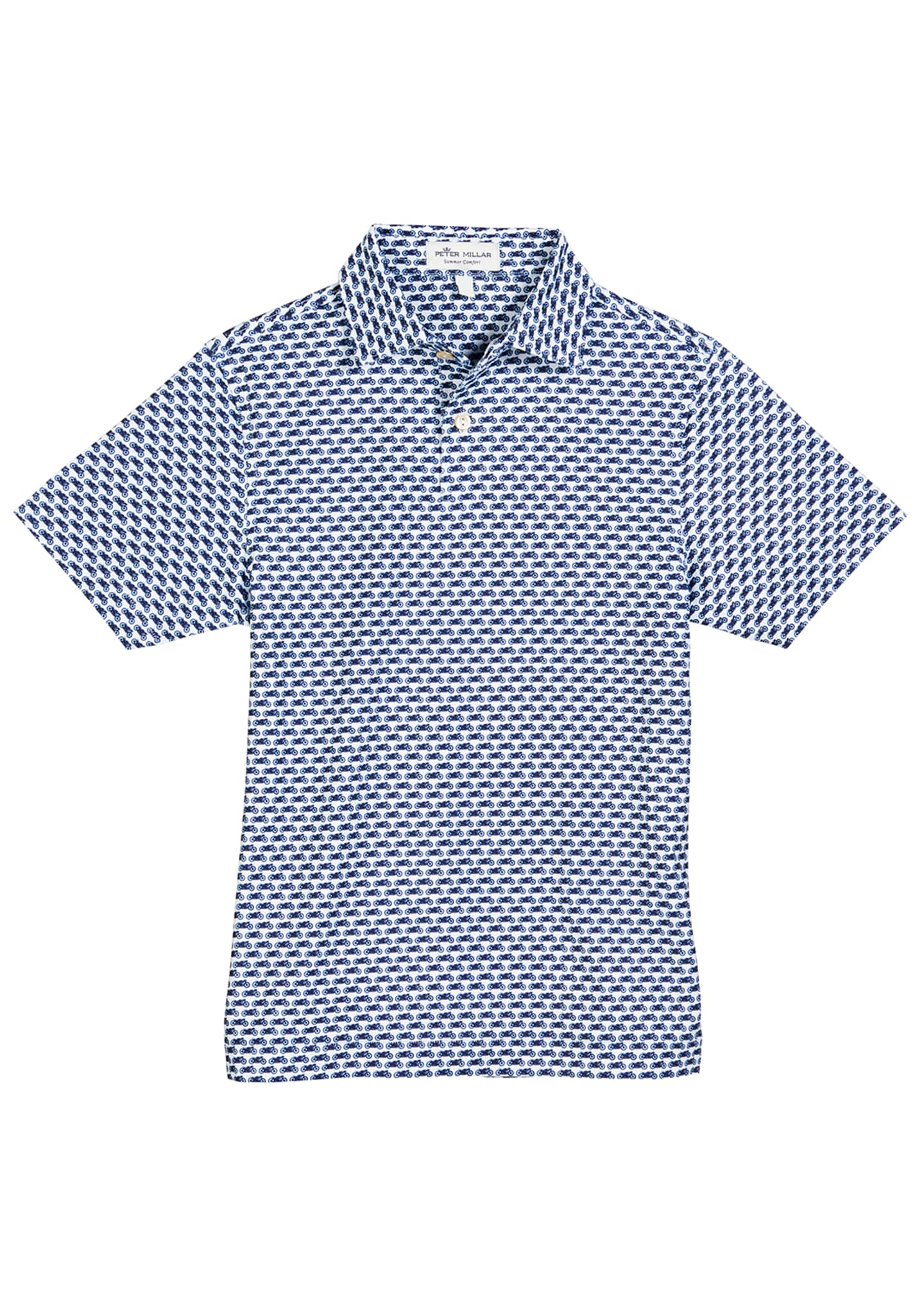 Peter Millar Stretch Jersey Motorcycle-Print Polo Shirt, Size