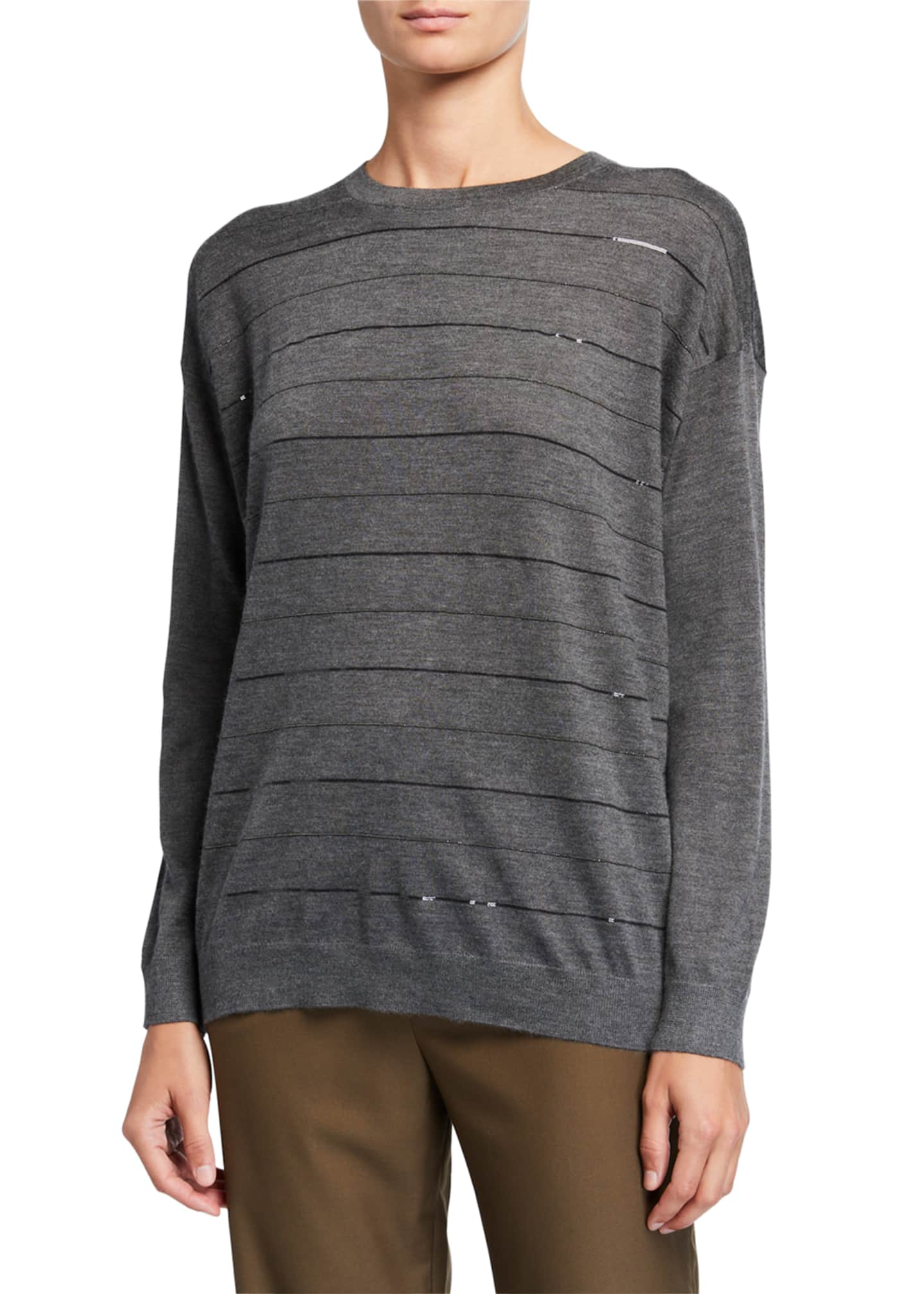 Brunello Cucinelli Cashmere-Silk Monili-Stripe Sweater