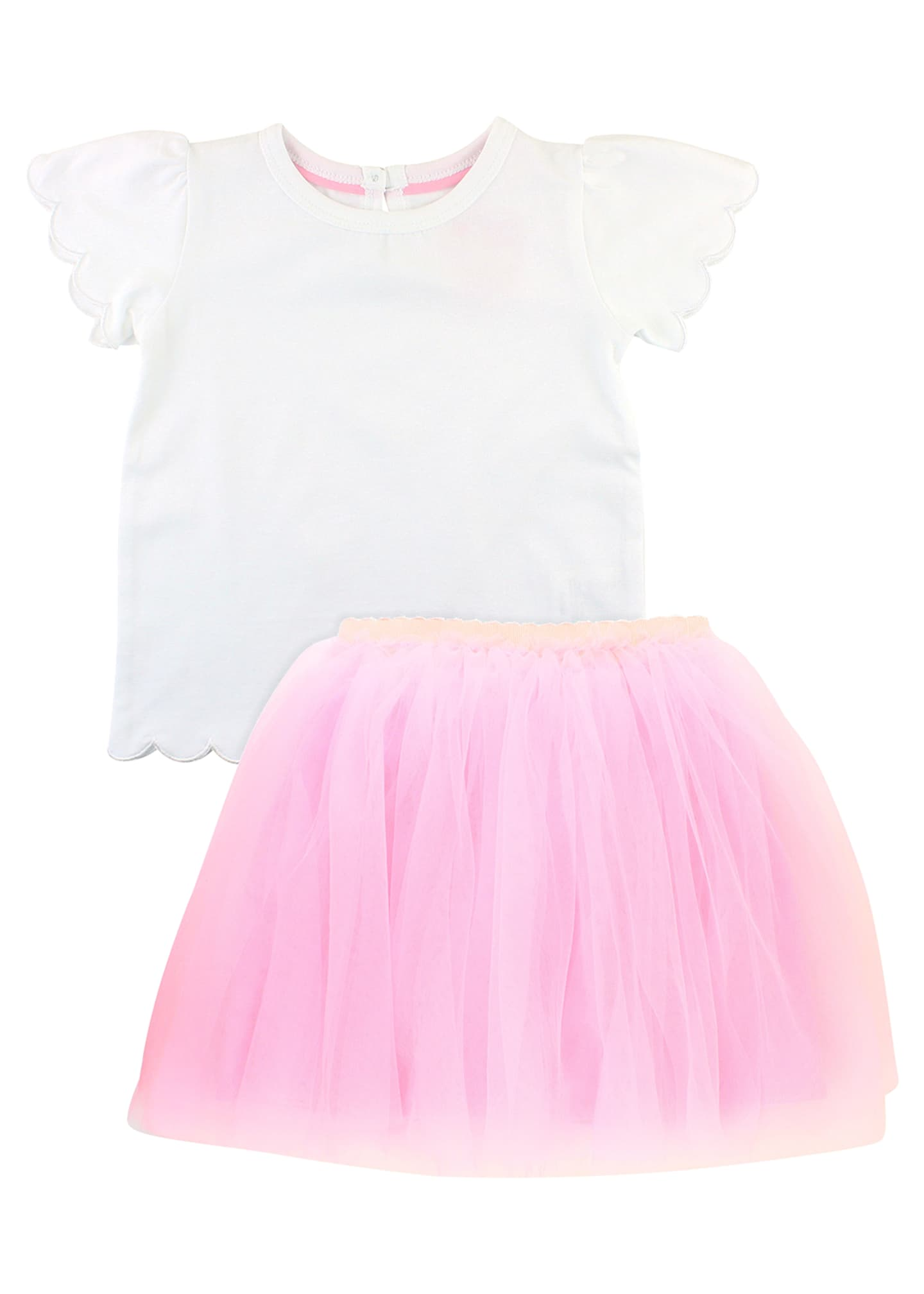 RuffleButts Scallop Tee w/ Tulle Skirt, Size 3M-3T