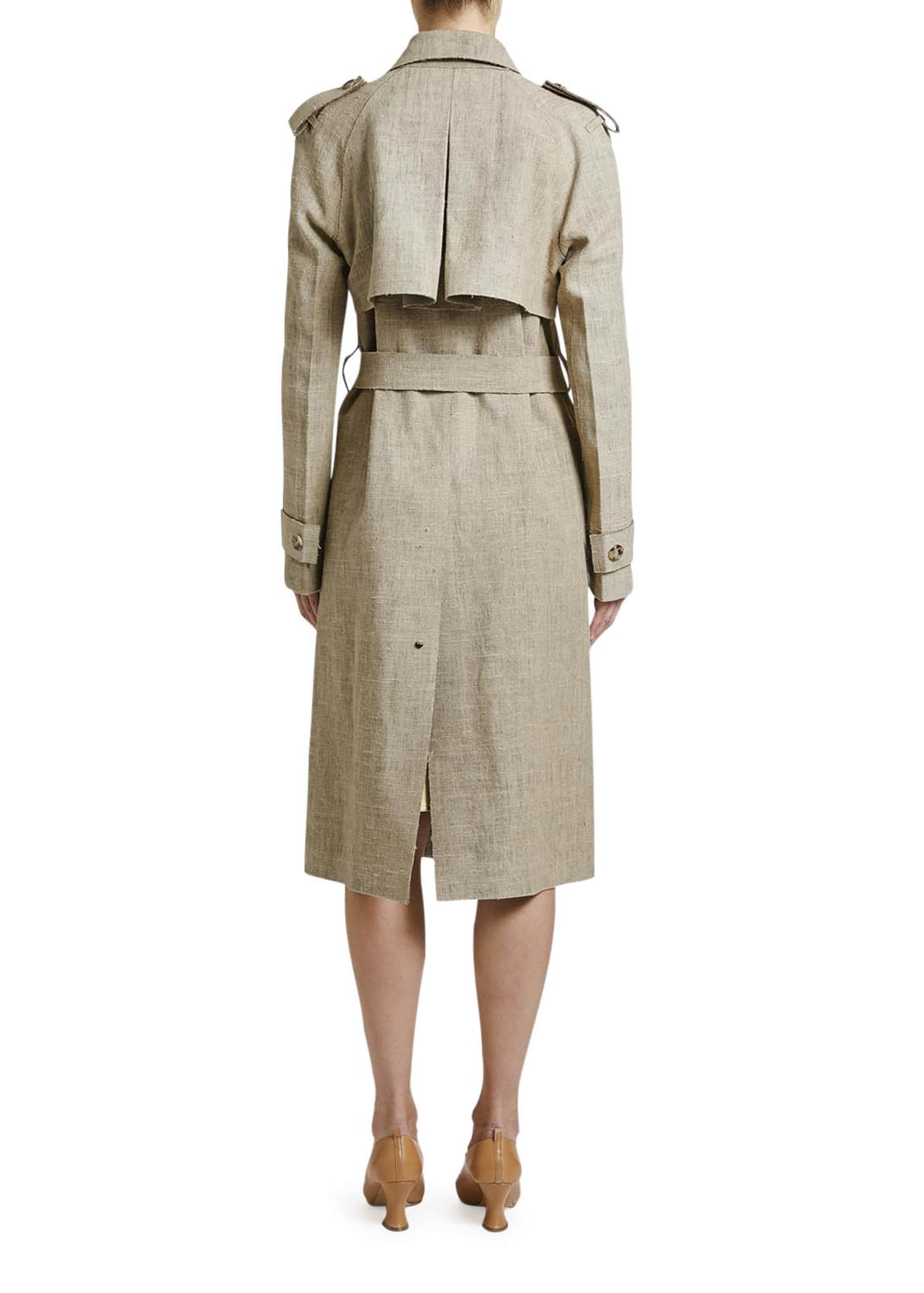 Image 3 of 3: Lightweight Linen Trench Coat