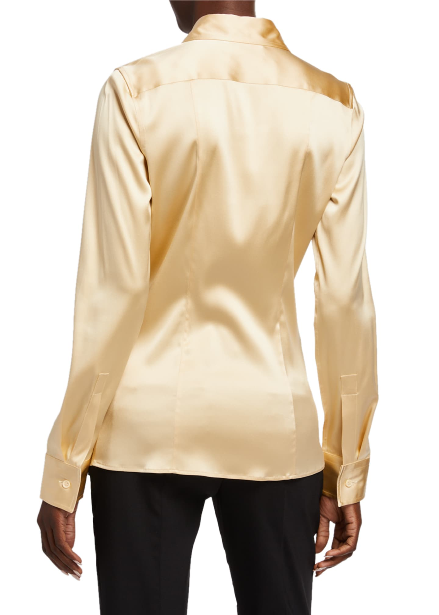 Image 2 of 2: Silk Twill Button-Front Blouse