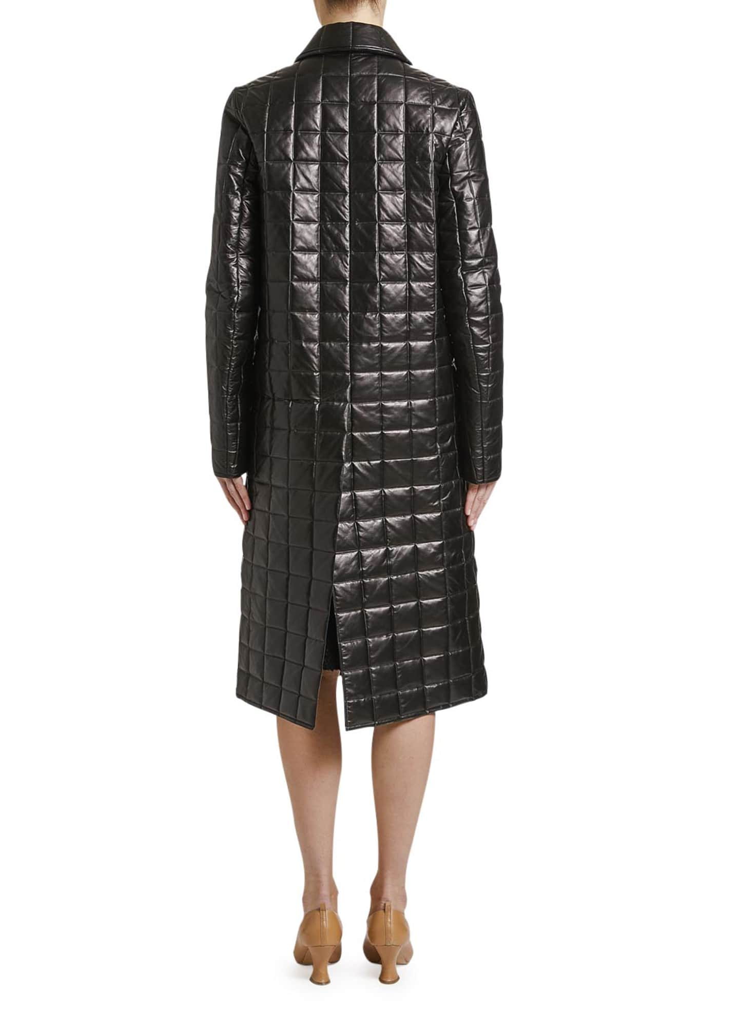 Image 2 of 2: Quilted Napa Leather Button-Front Coat