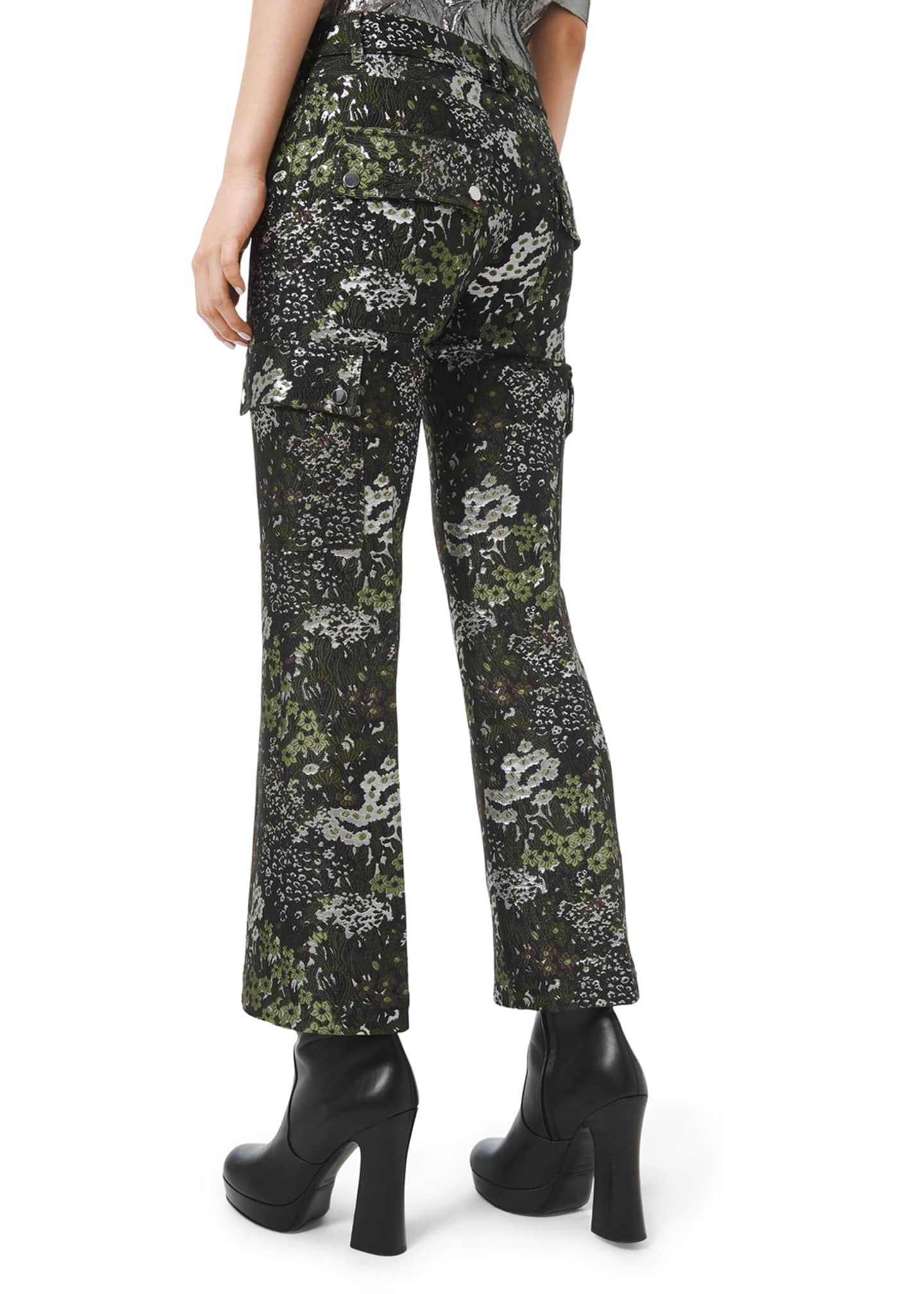 Image 2 of 2: Floral-Brocade Cargo Flare Pants