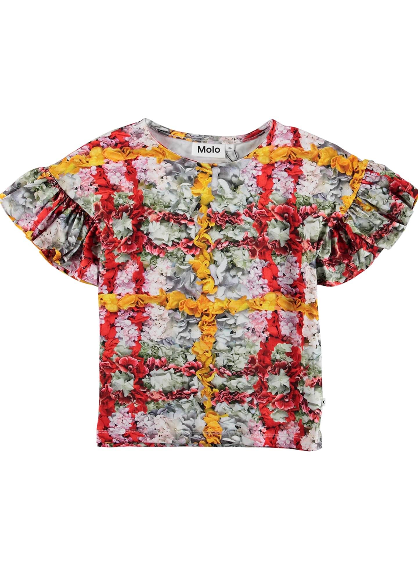 Molo Rayah Floral Print Tee w/ Ruffle Sleeves,
