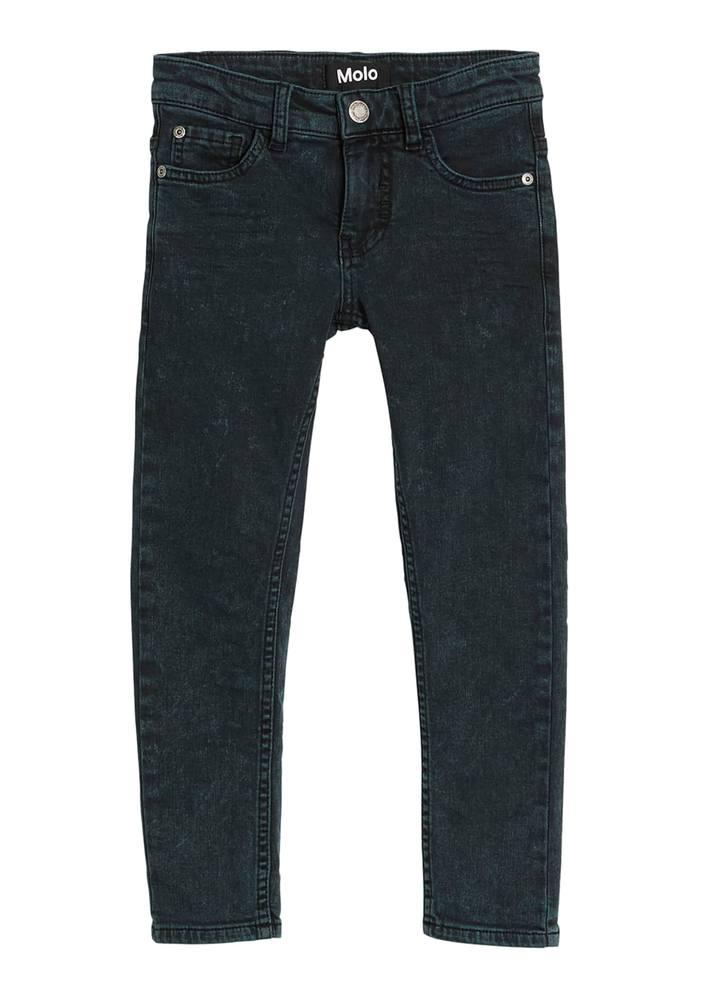 Molo Aksel Green Washed Denim Jeans, Size 4-12