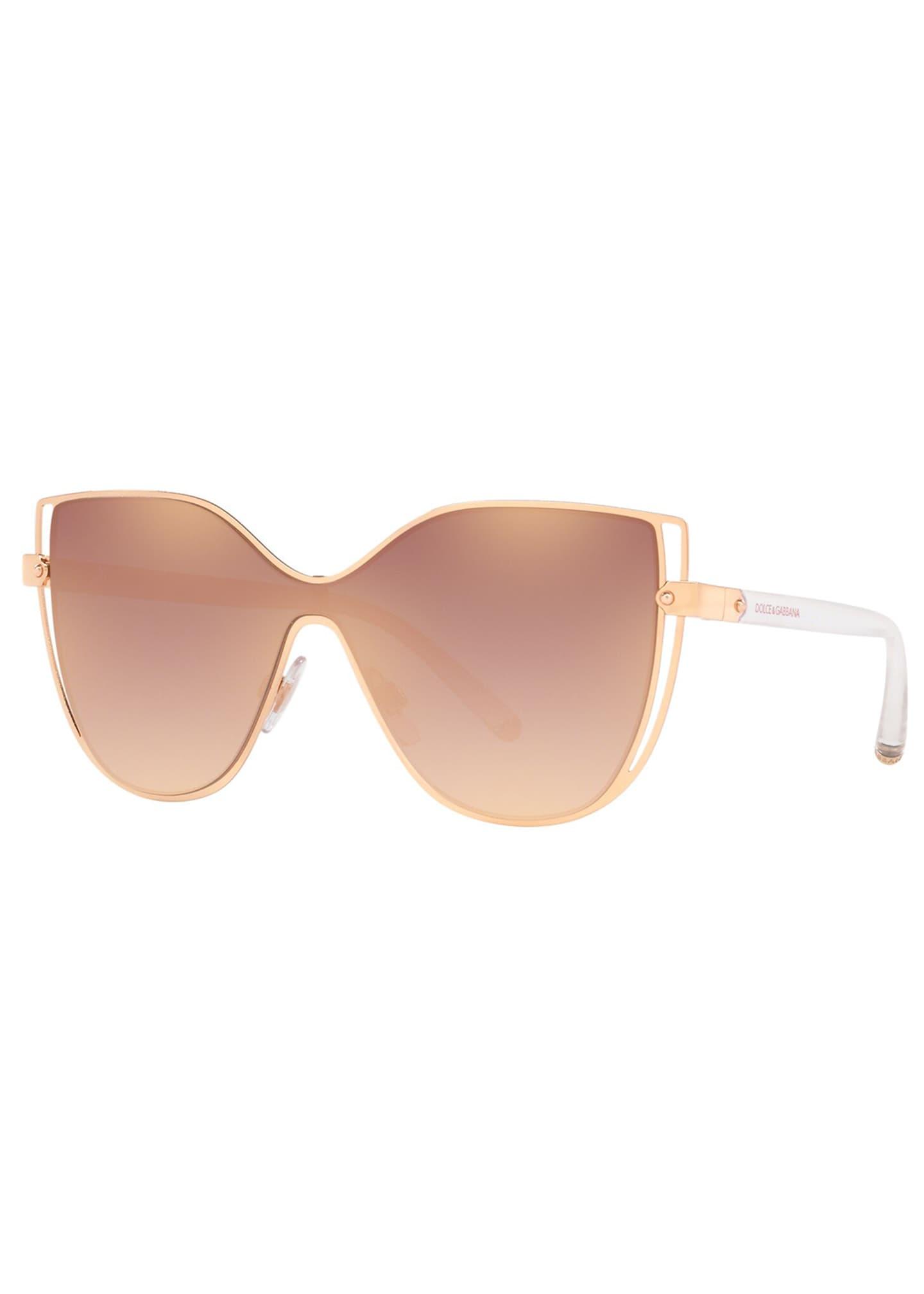 Dolce & Gabbana Metal Butterfly Shield Sunglasses w/